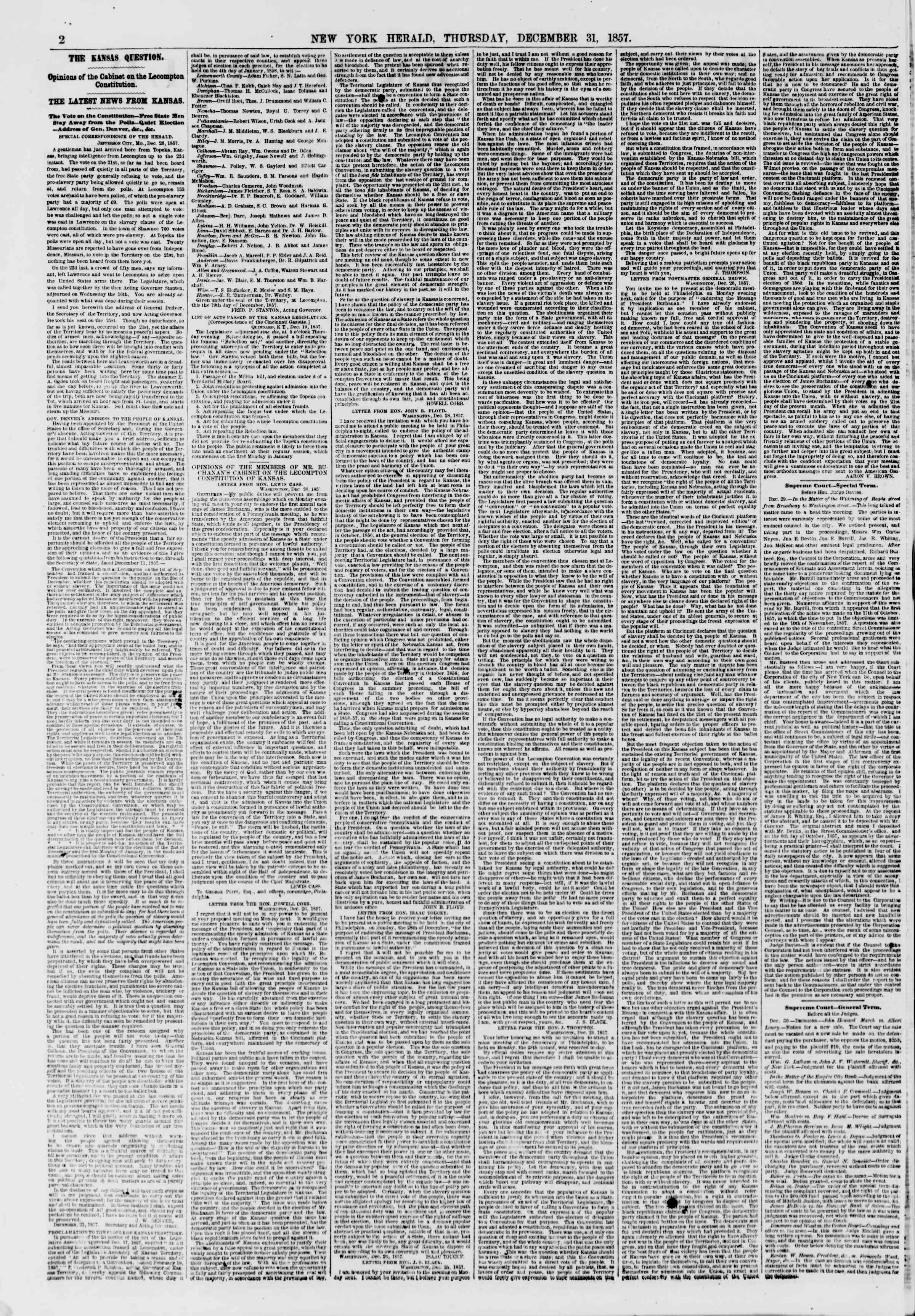 Newspaper of The New York Herald dated December 31, 1857 Page 2