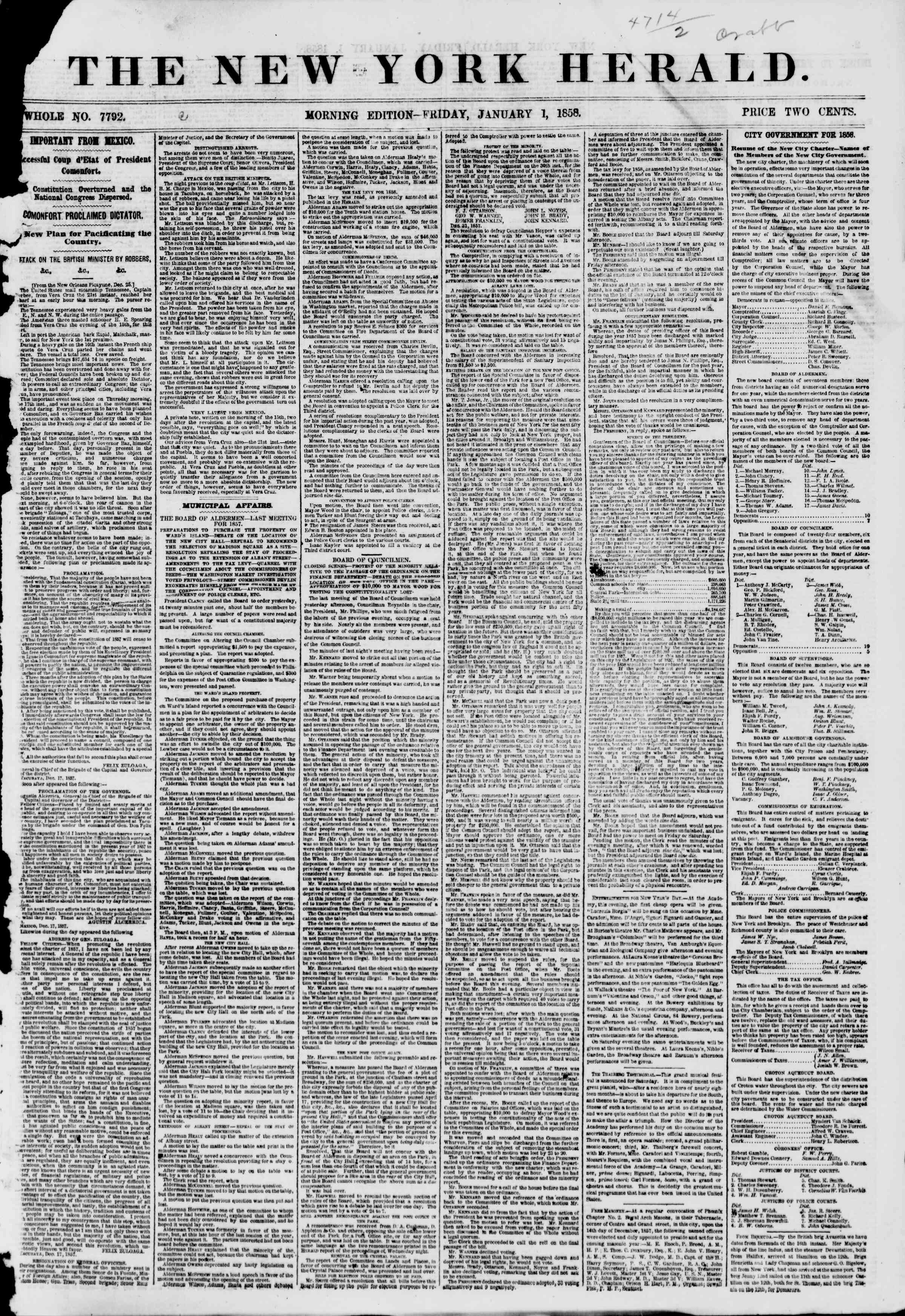 Newspaper of The New York Herald dated January 1, 1858 Page 1