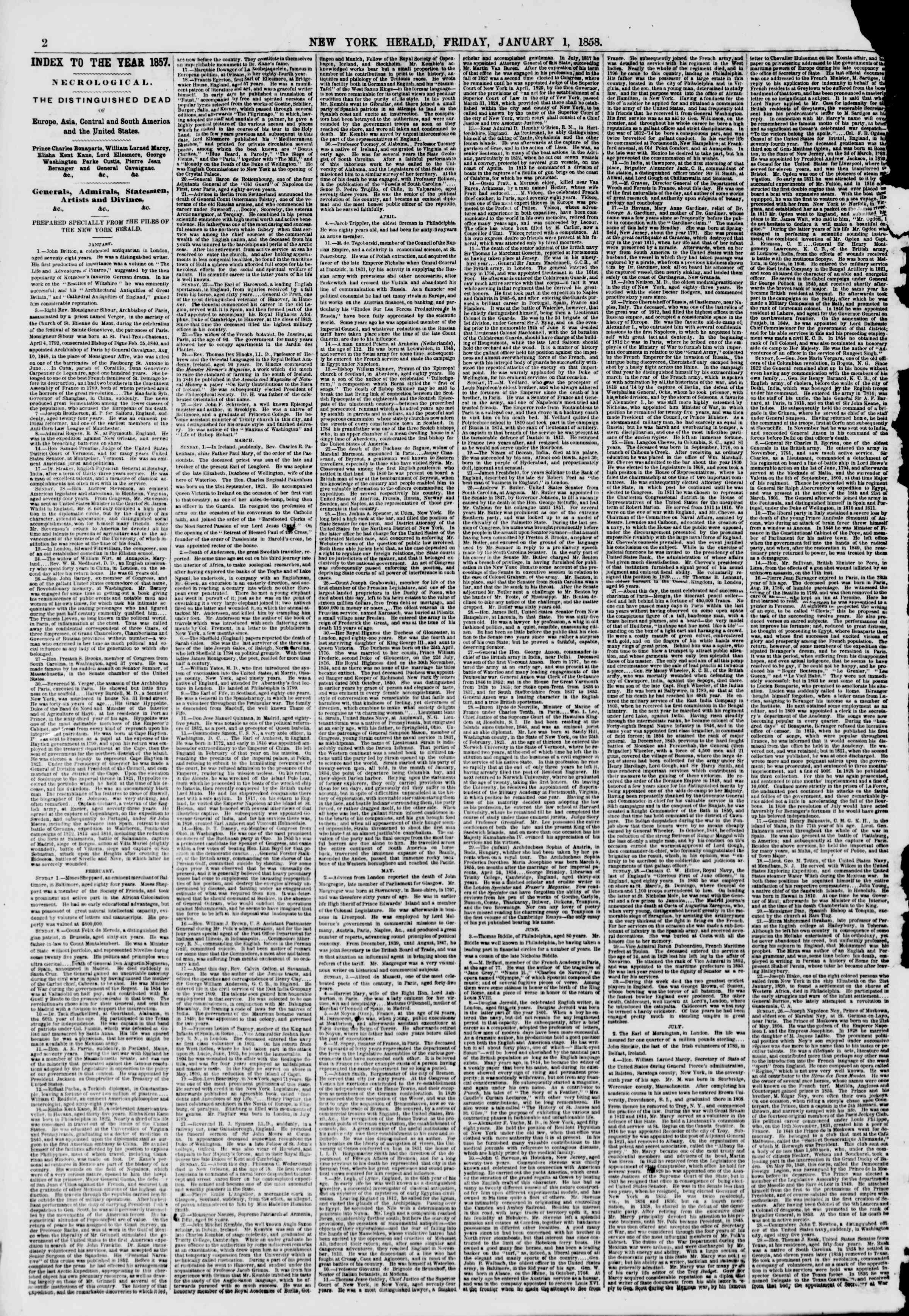 Newspaper of The New York Herald dated January 1, 1858 Page 2