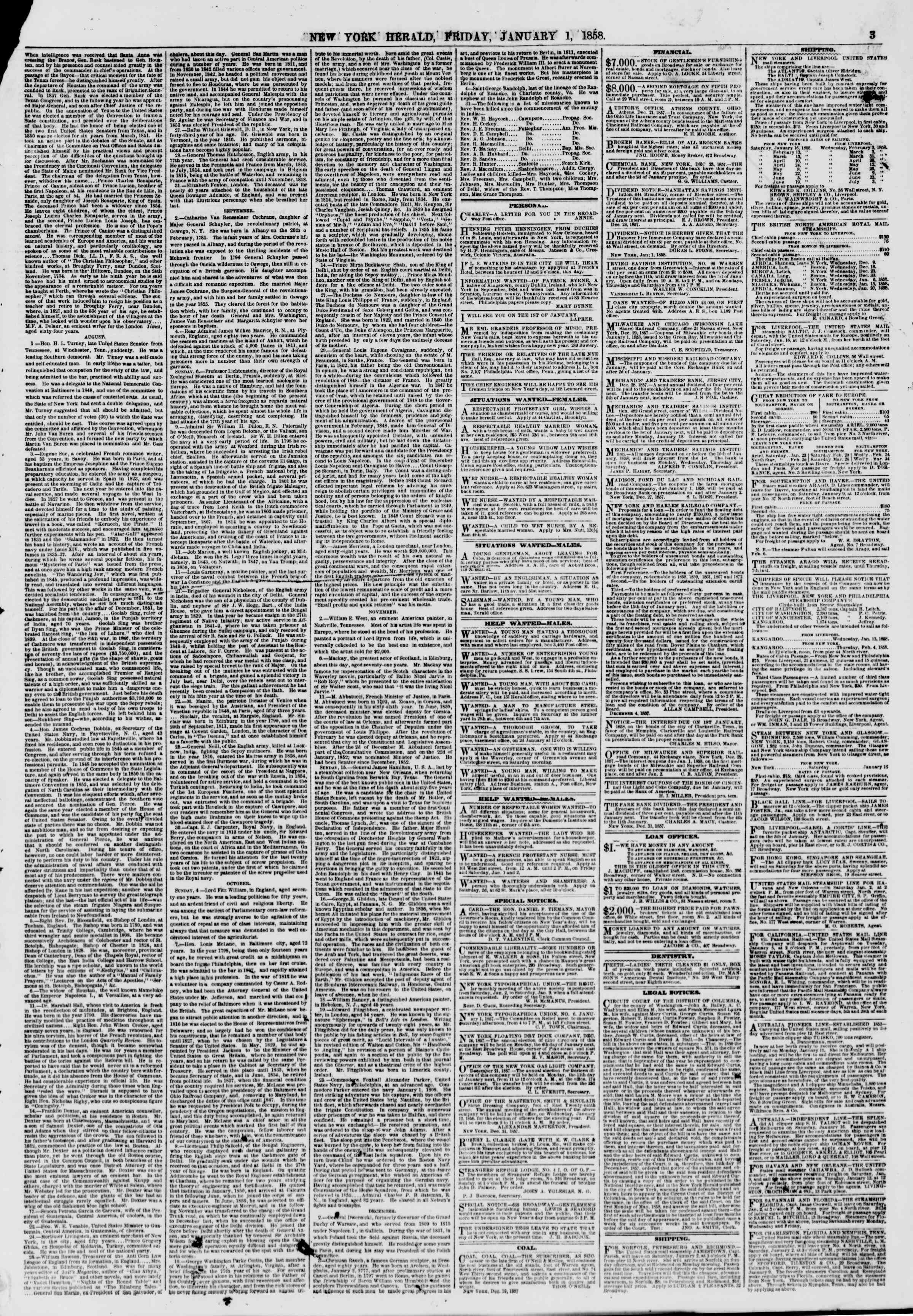Newspaper of The New York Herald dated January 1, 1858 Page 3
