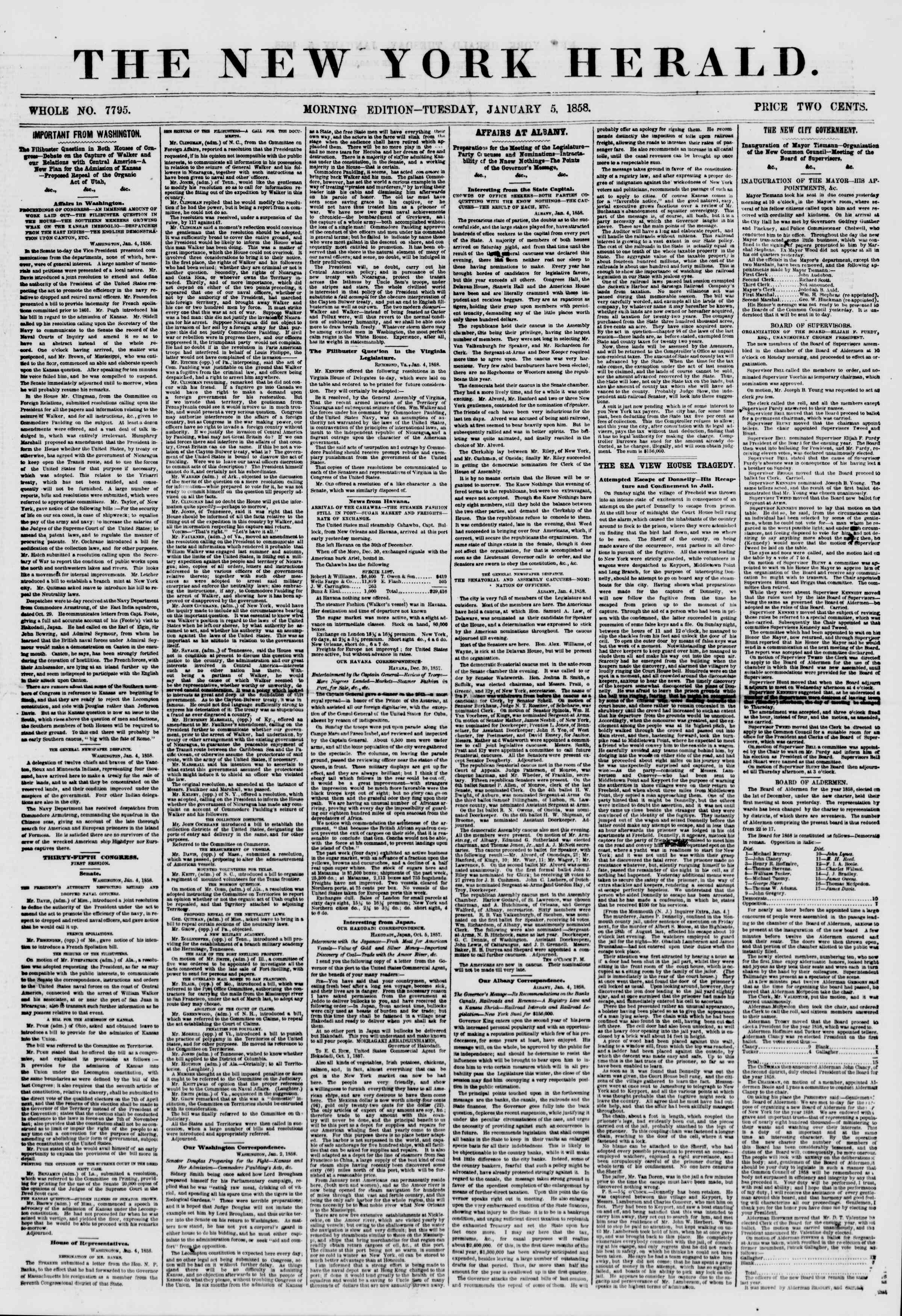 Newspaper of The New York Herald dated January 5, 1858 Page 1
