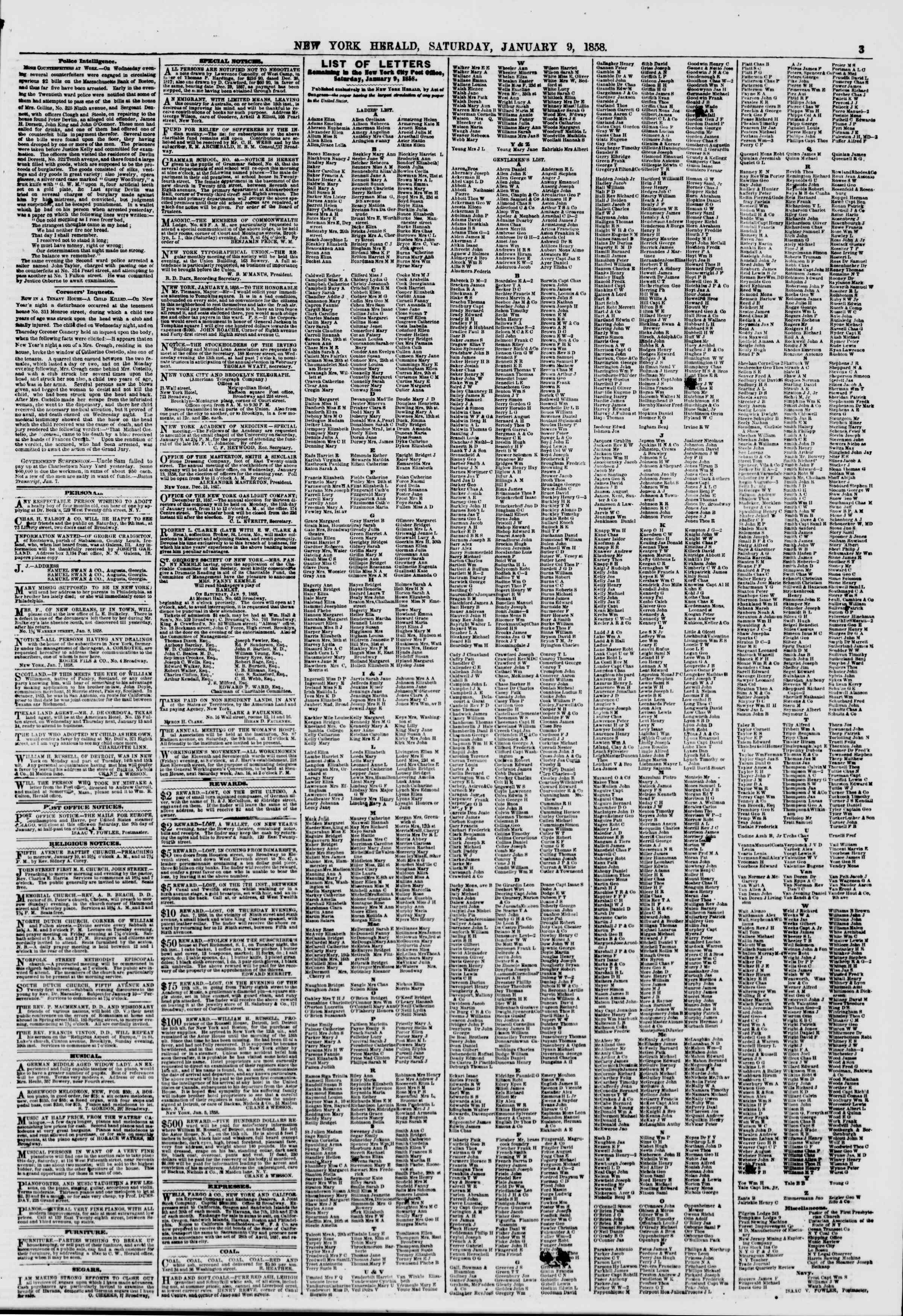 Newspaper of The New York Herald dated 9 Ocak 1858 Page 3