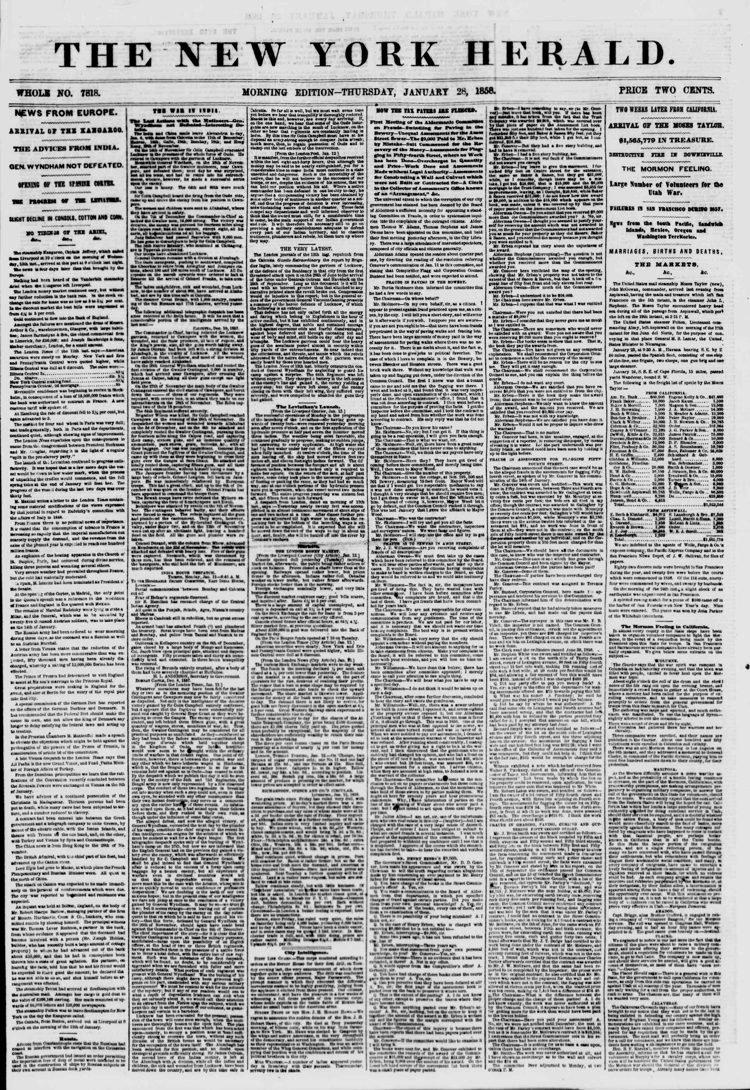 Newspaper of The New York Herald dated January 28, 1858 Page 1