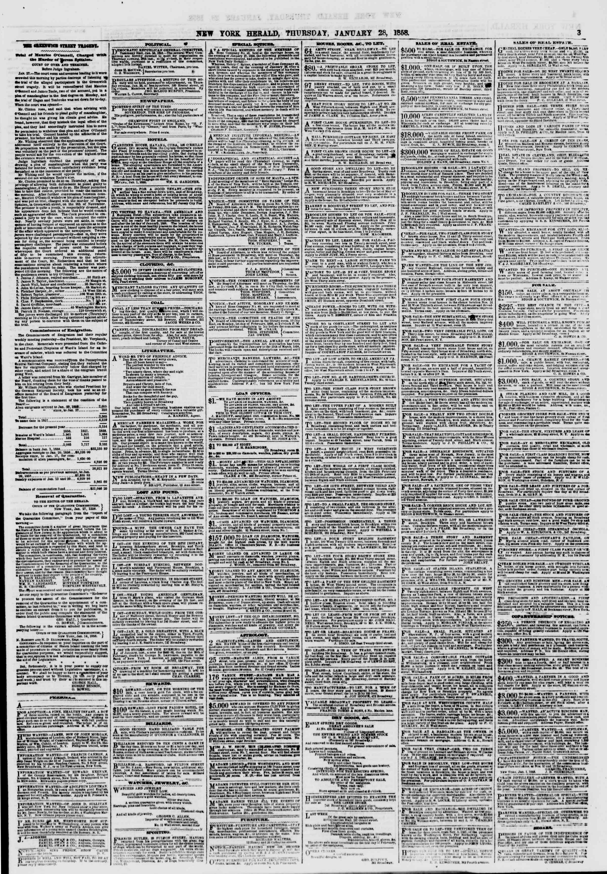 Newspaper of The New York Herald dated January 28, 1858 Page 3