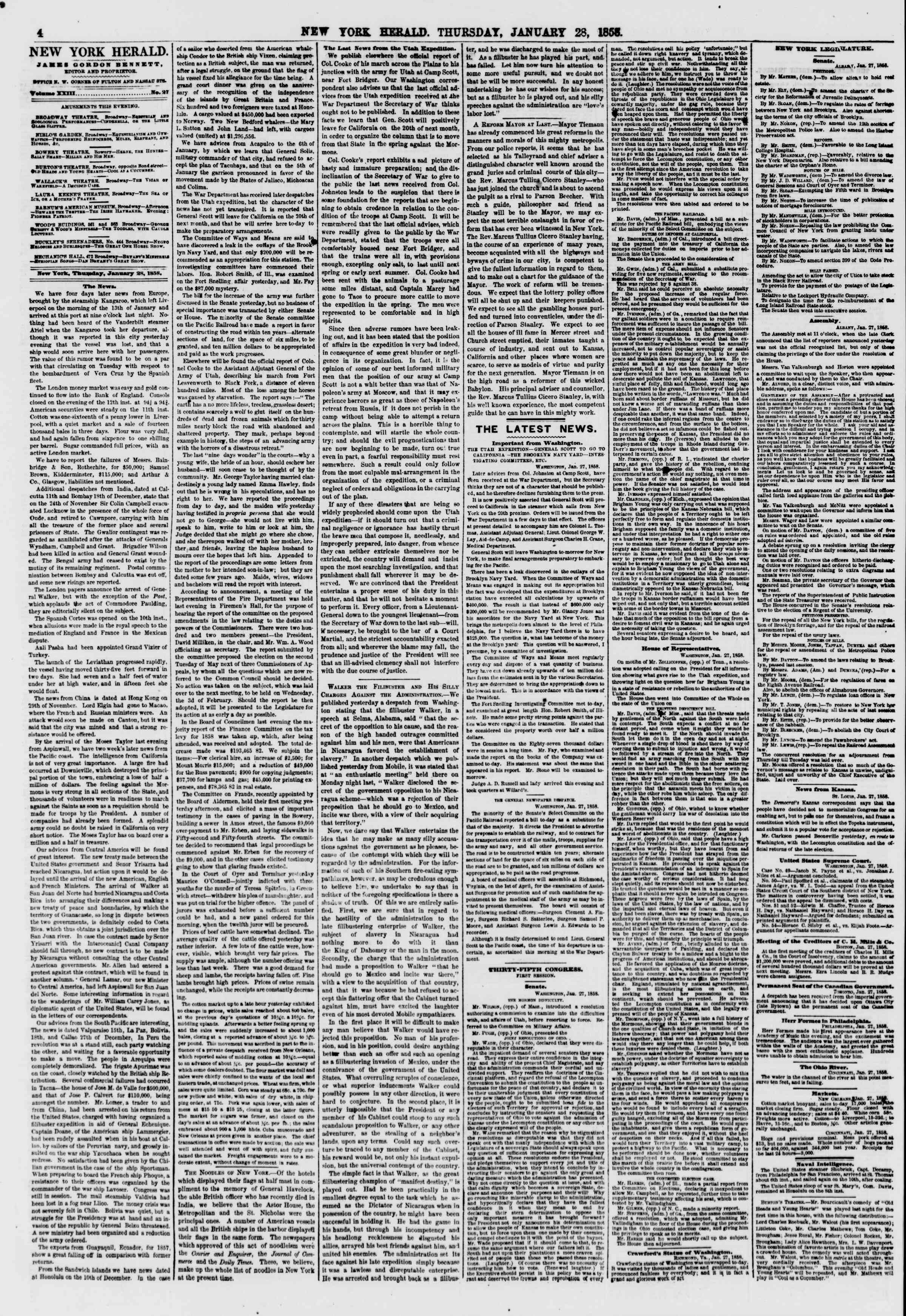 Newspaper of The New York Herald dated January 28, 1858 Page 4