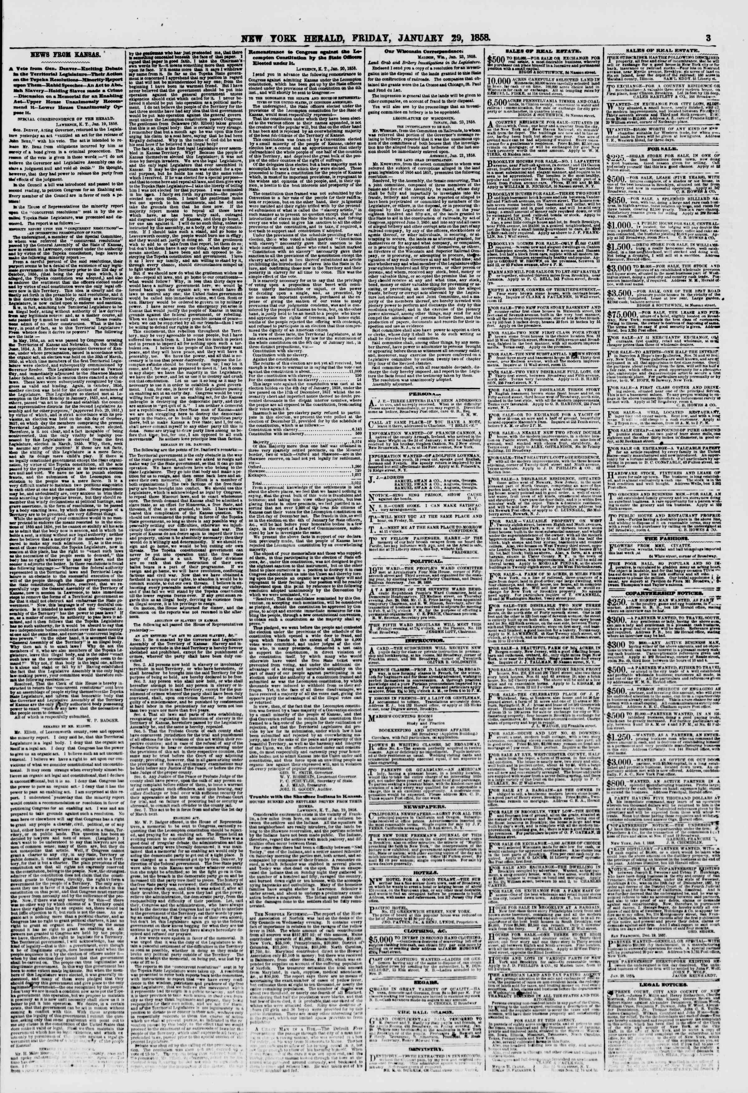 Newspaper of The New York Herald dated January 29, 1858 Page 3