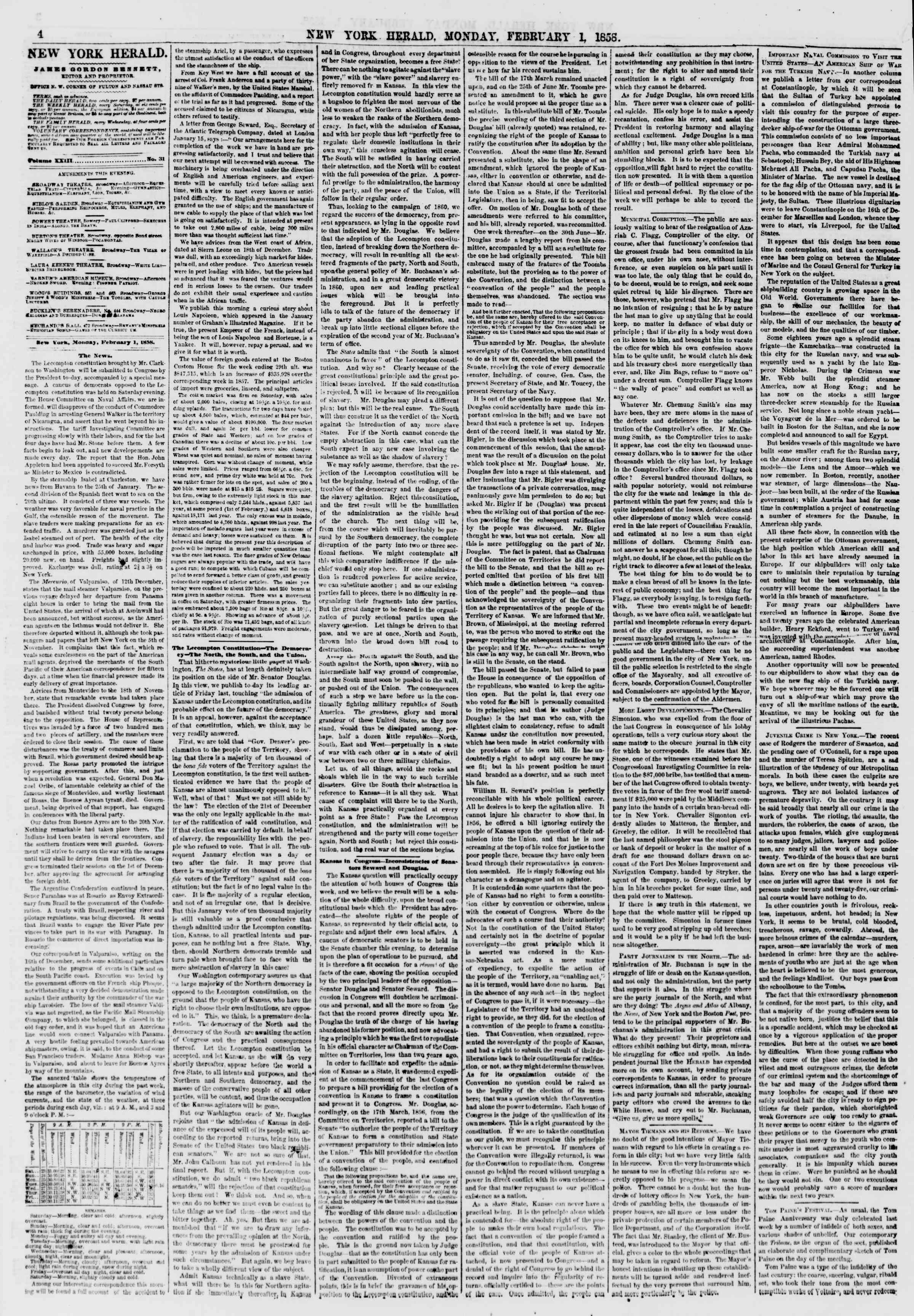 Newspaper of The New York Herald dated February 1, 1858 Page 4