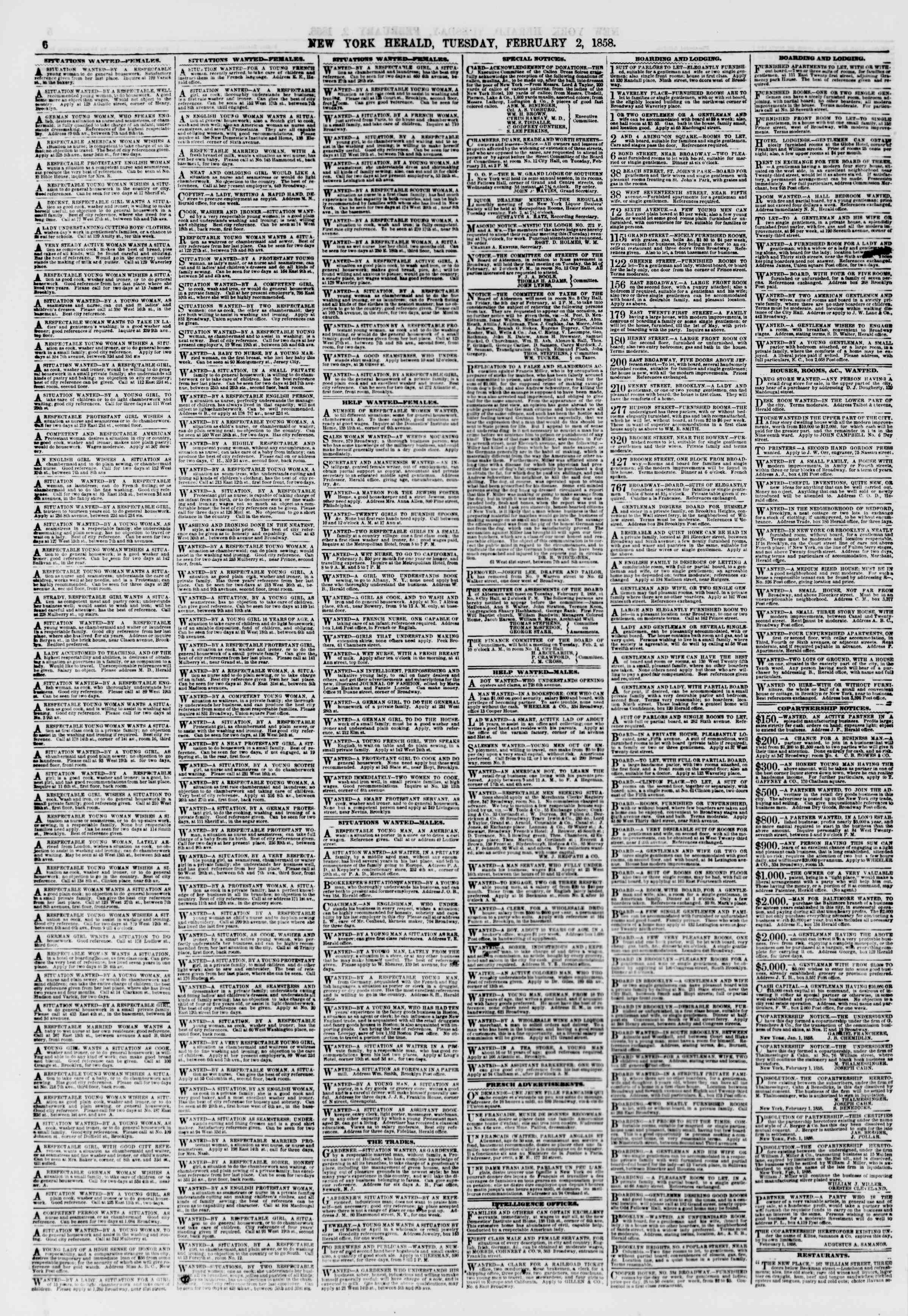 Newspaper of The New York Herald dated February 2, 1858 Page 6