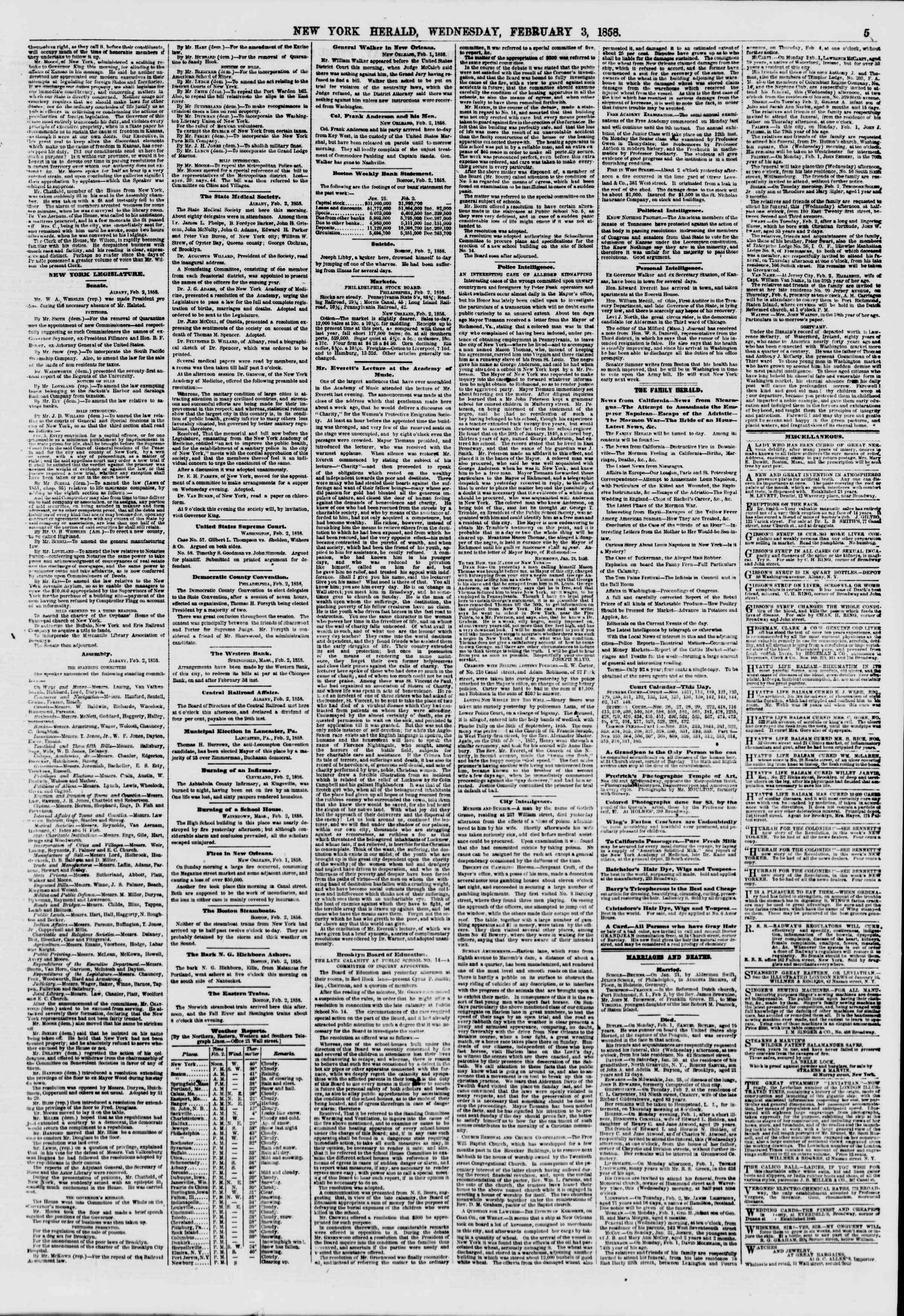 Newspaper of The New York Herald dated February 3, 1858 Page 5