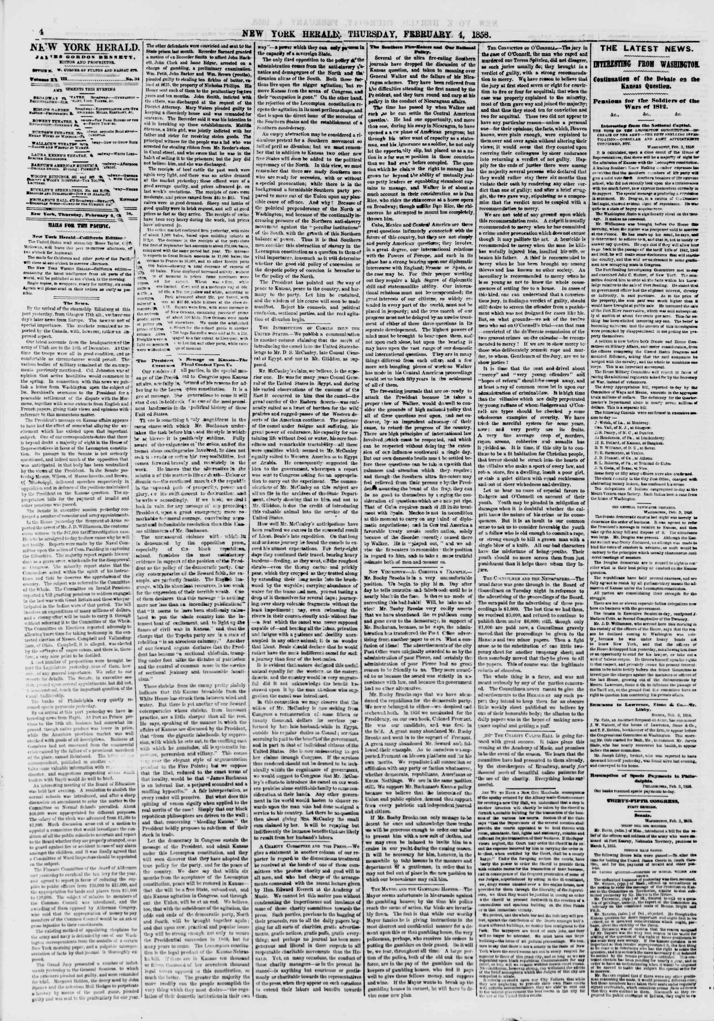 Newspaper of The New York Herald dated February 4, 1858 Page 4