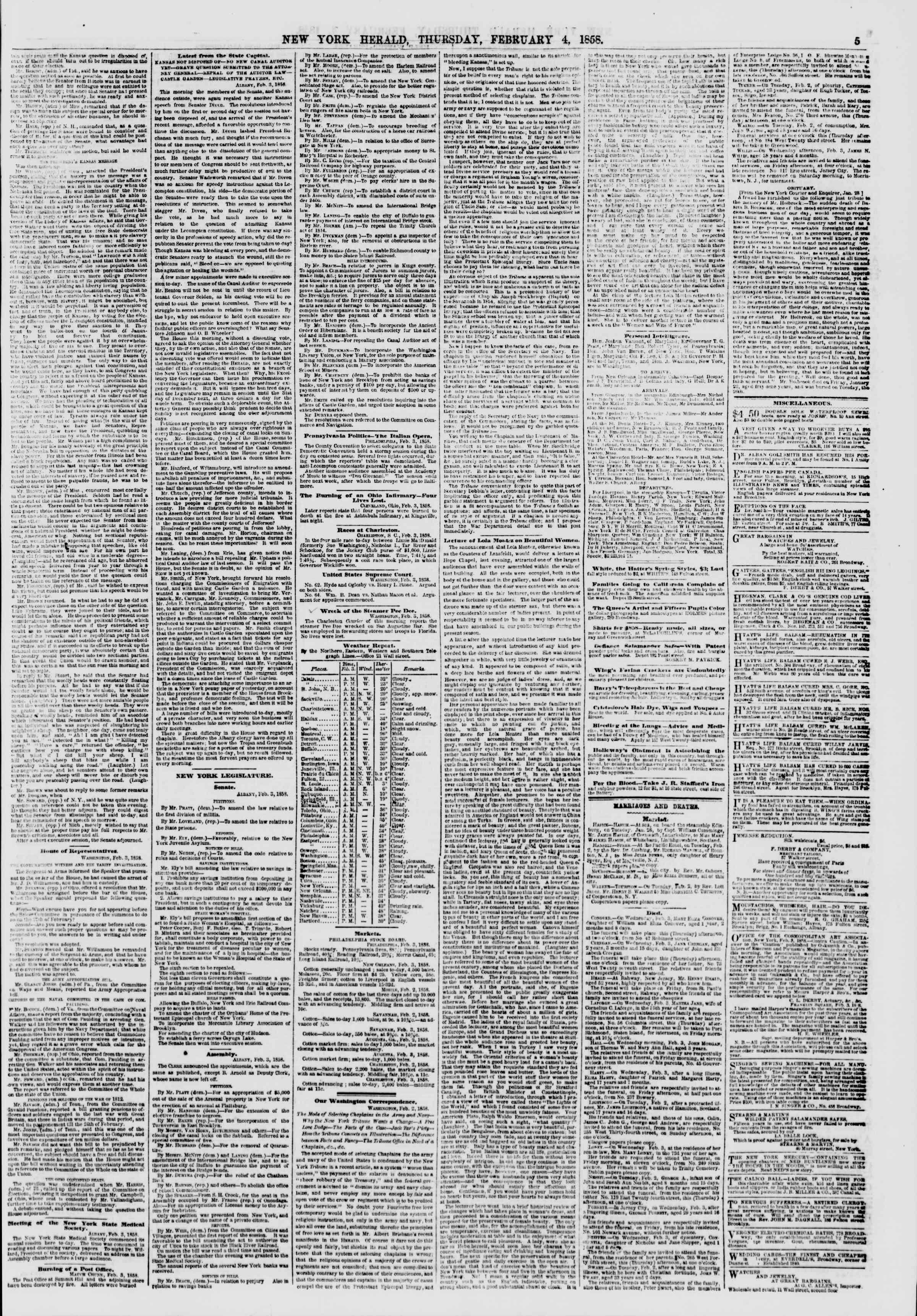 Newspaper of The New York Herald dated February 4, 1858 Page 5