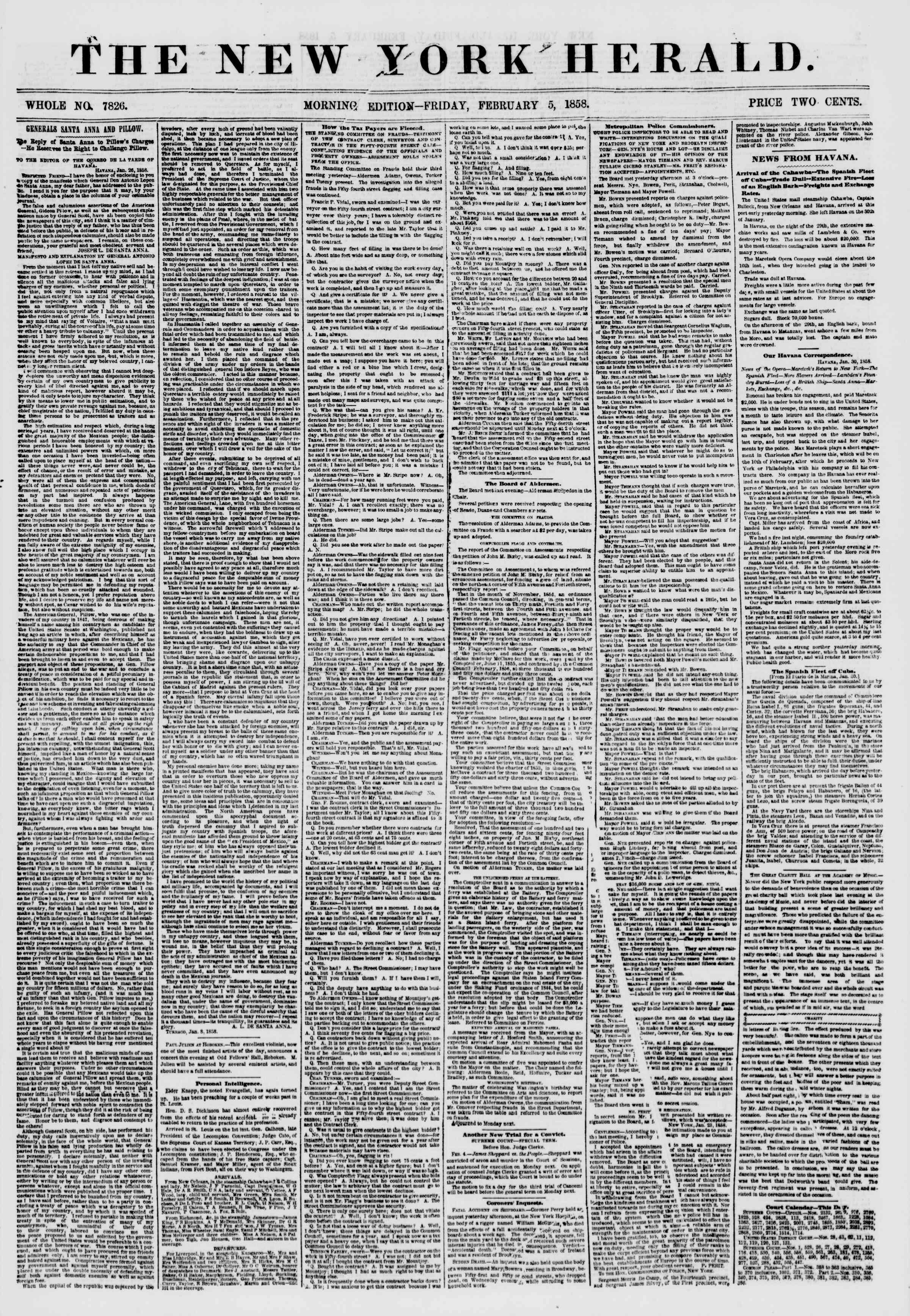 Newspaper of The New York Herald dated February 5, 1858 Page 1