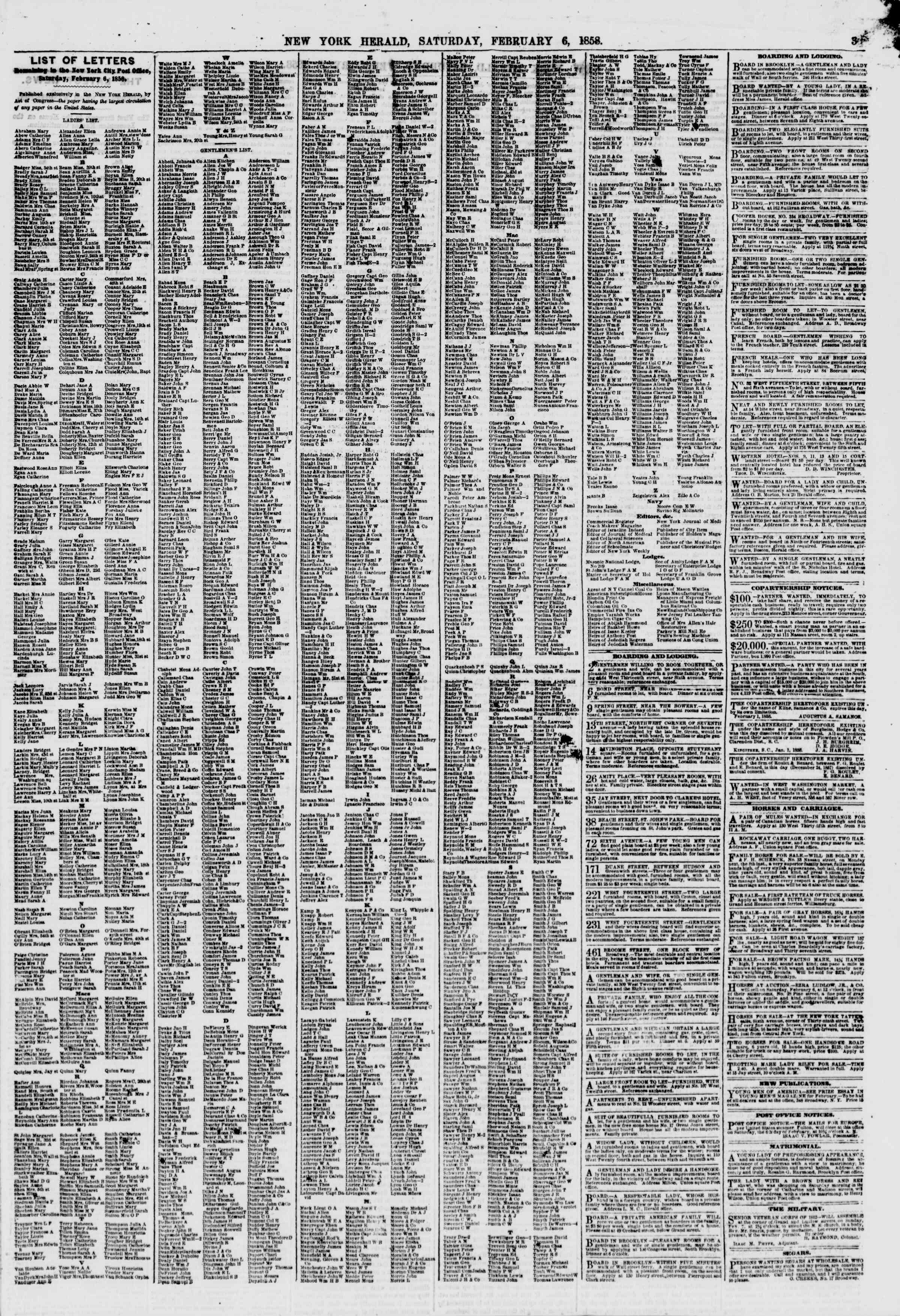 Newspaper of The New York Herald dated February 6, 1858 Page 3