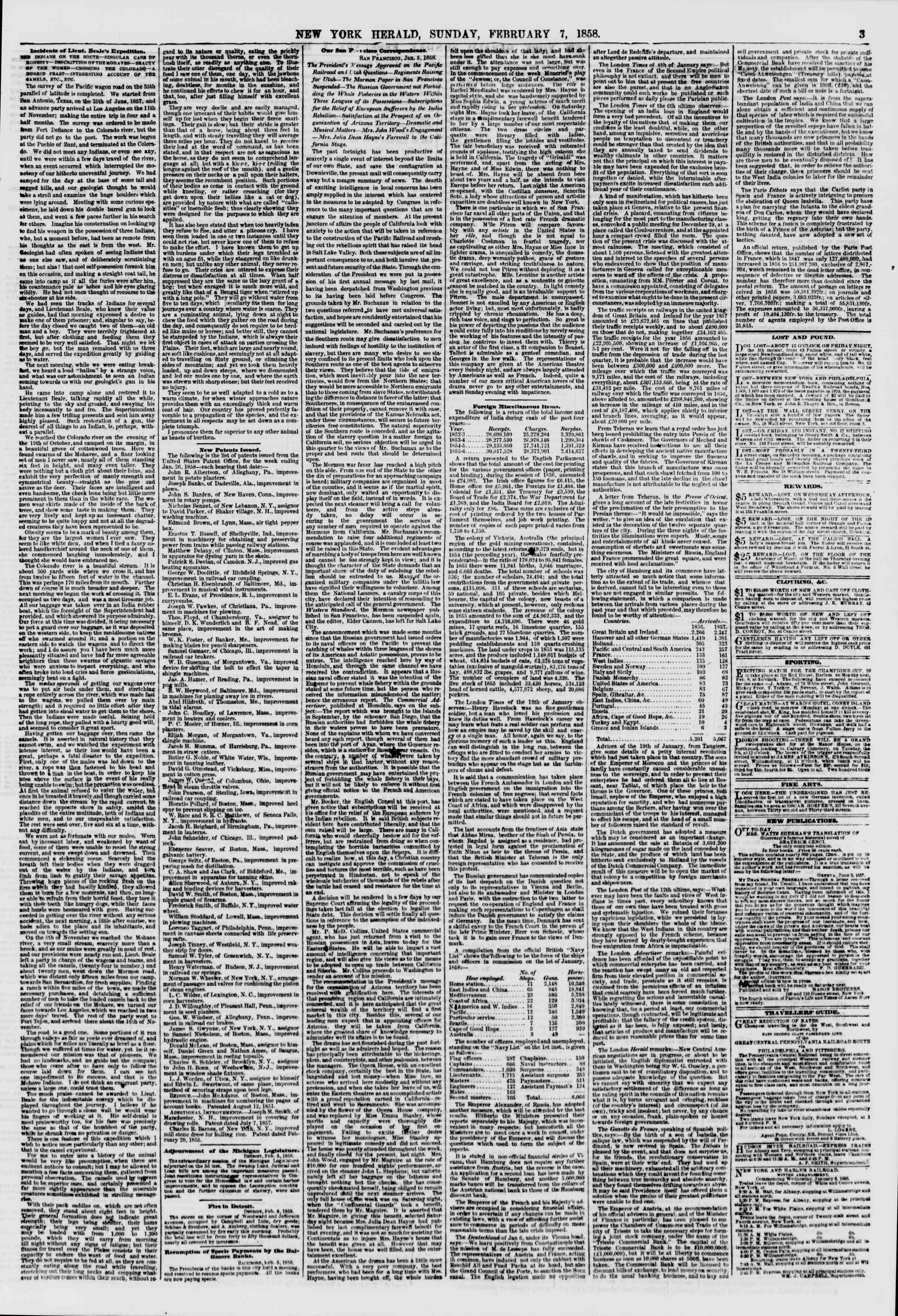 Newspaper of The New York Herald dated February 7, 1858 Page 3