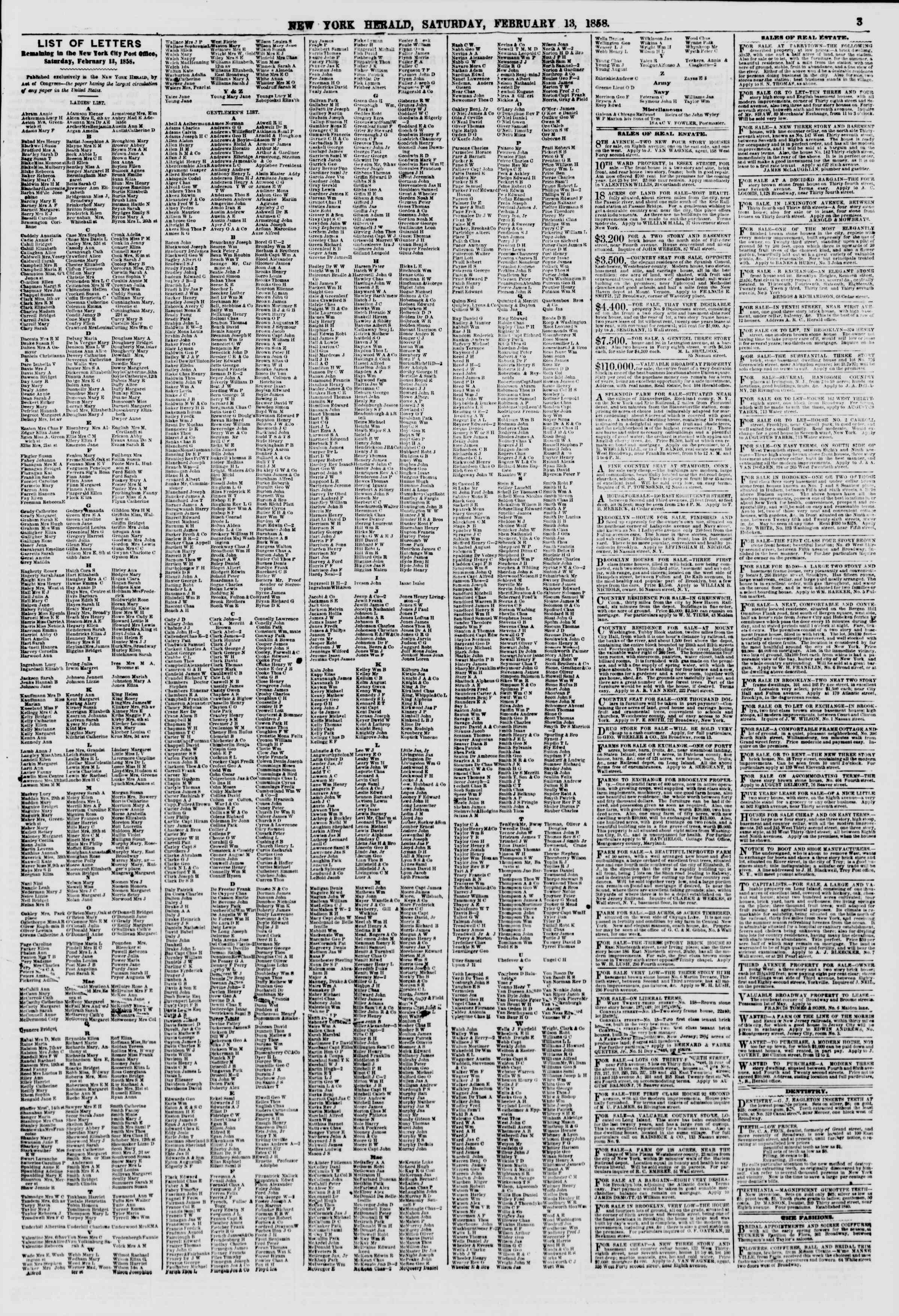 Newspaper of The New York Herald dated February 13, 1858 Page 3