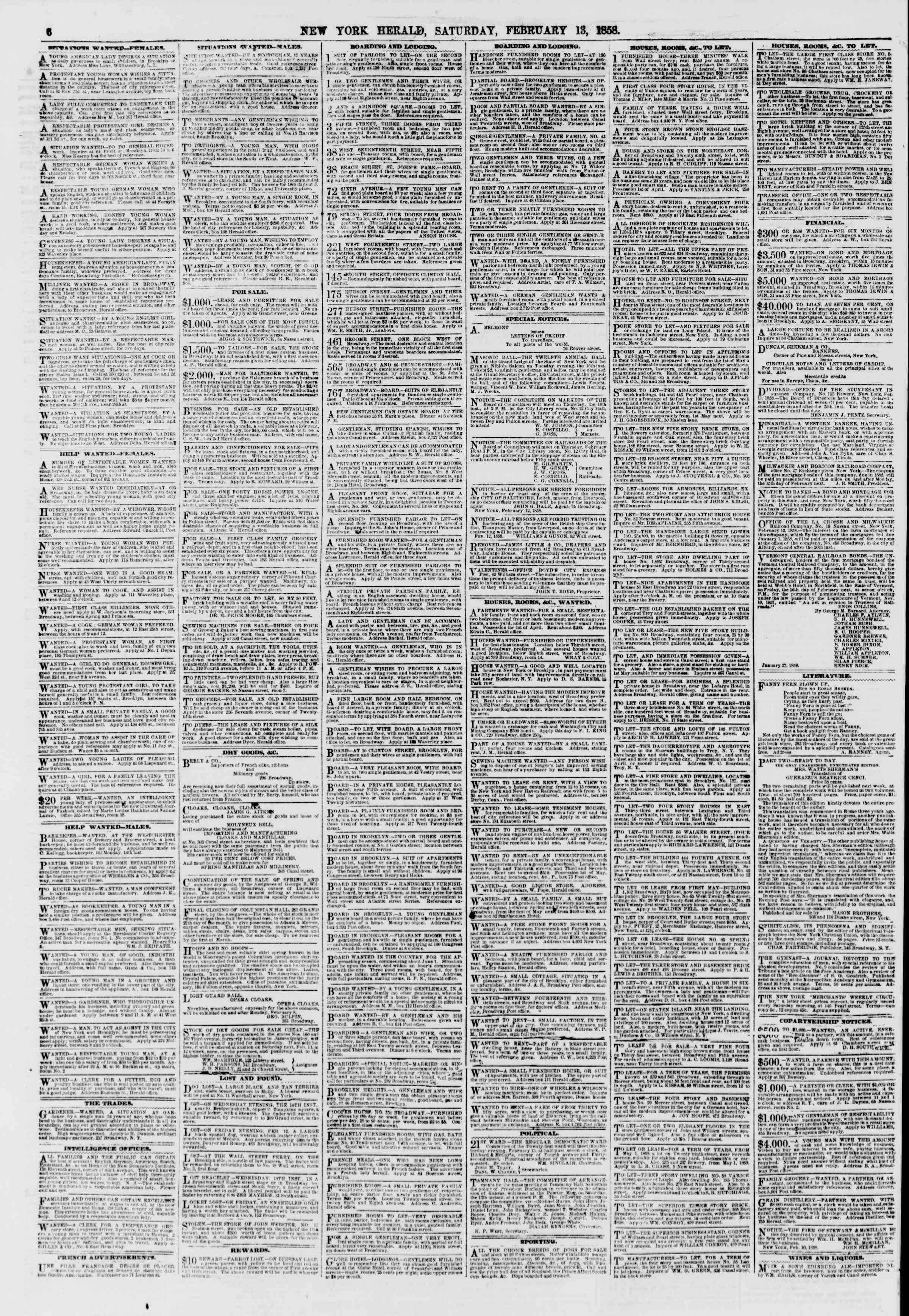 Newspaper of The New York Herald dated February 13, 1858 Page 6
