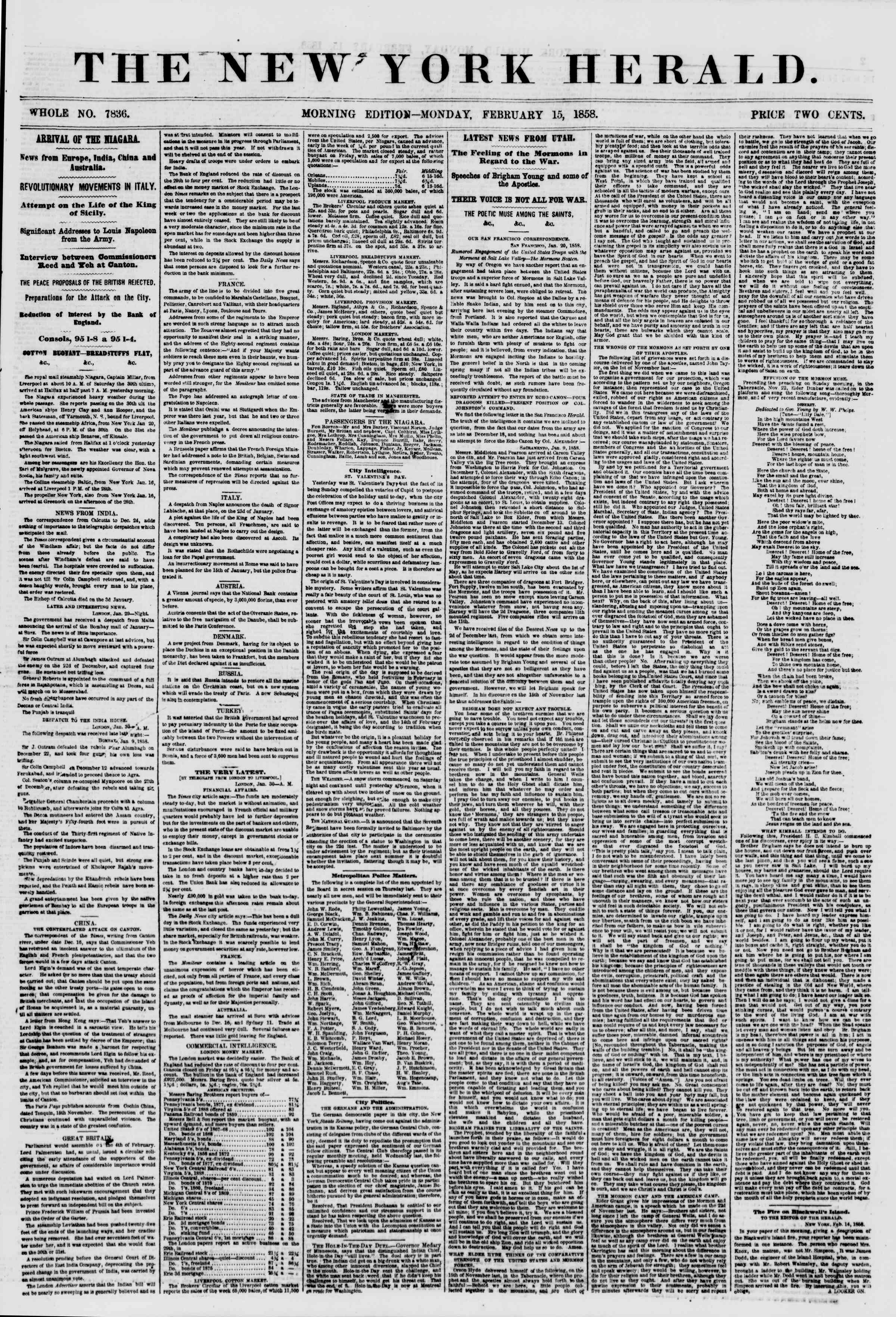Newspaper of The New York Herald dated February 15, 1858 Page 2