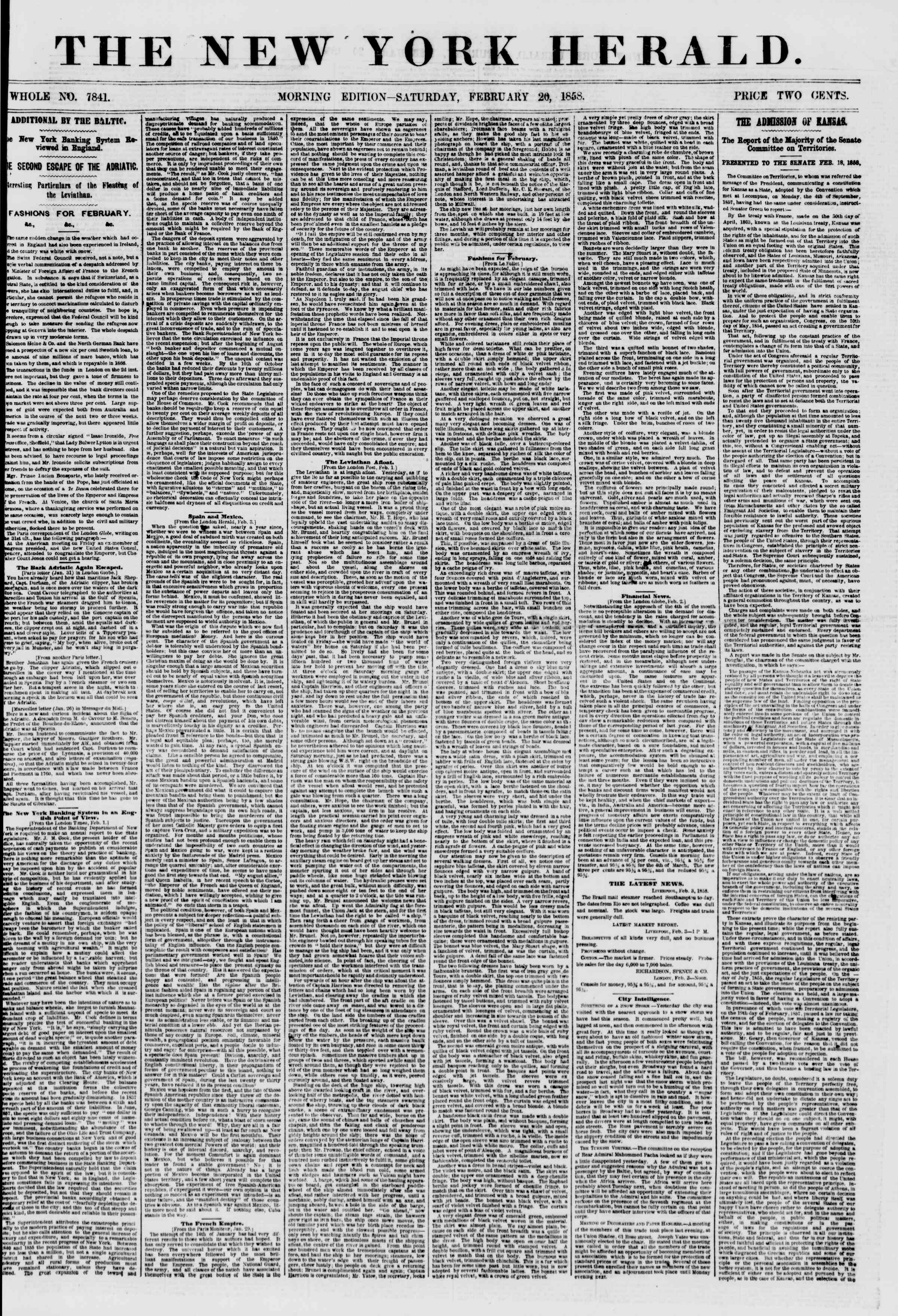 Newspaper of The New York Herald dated February 20, 1858 Page 1