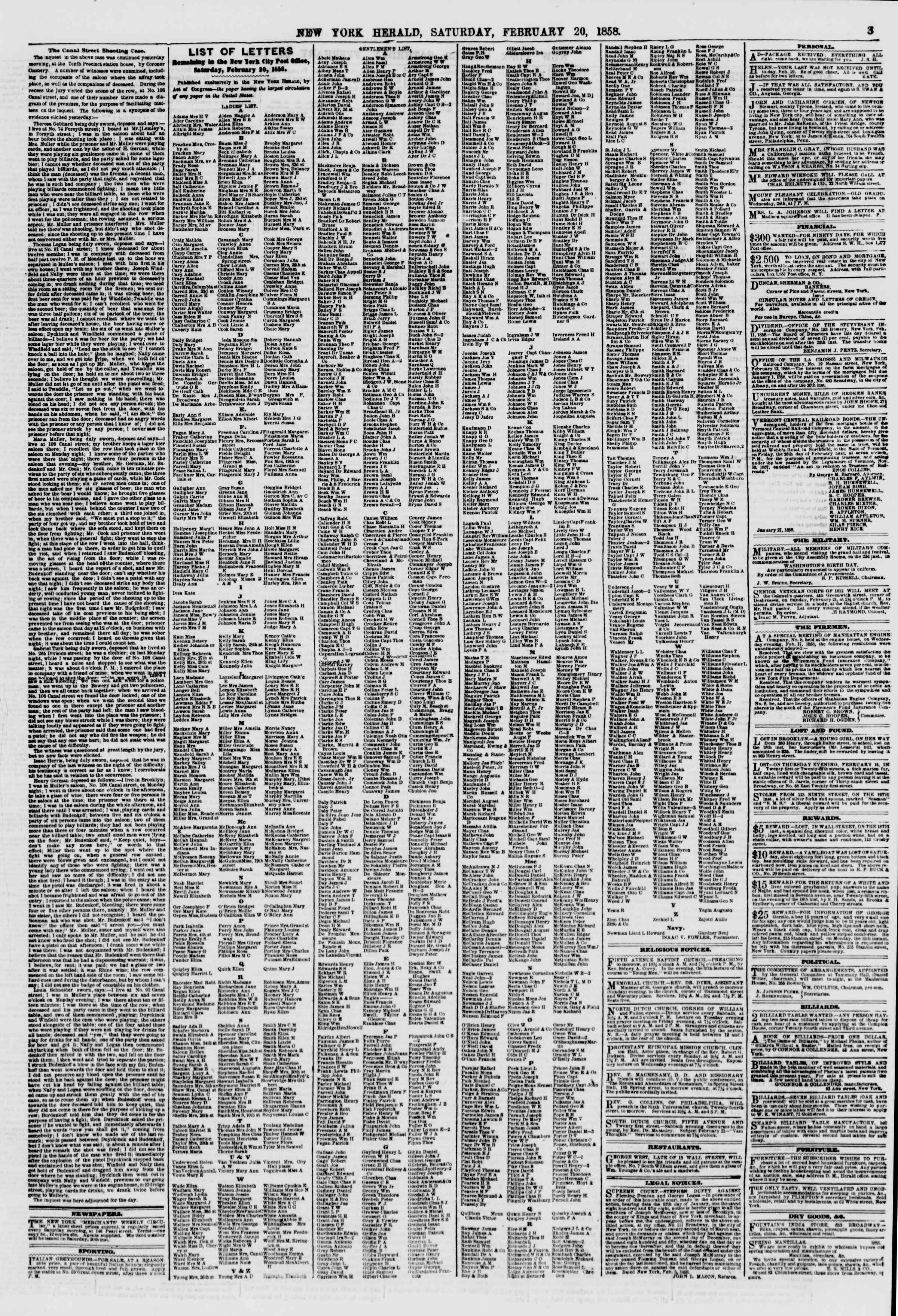 Newspaper of The New York Herald dated February 20, 1858 Page 3