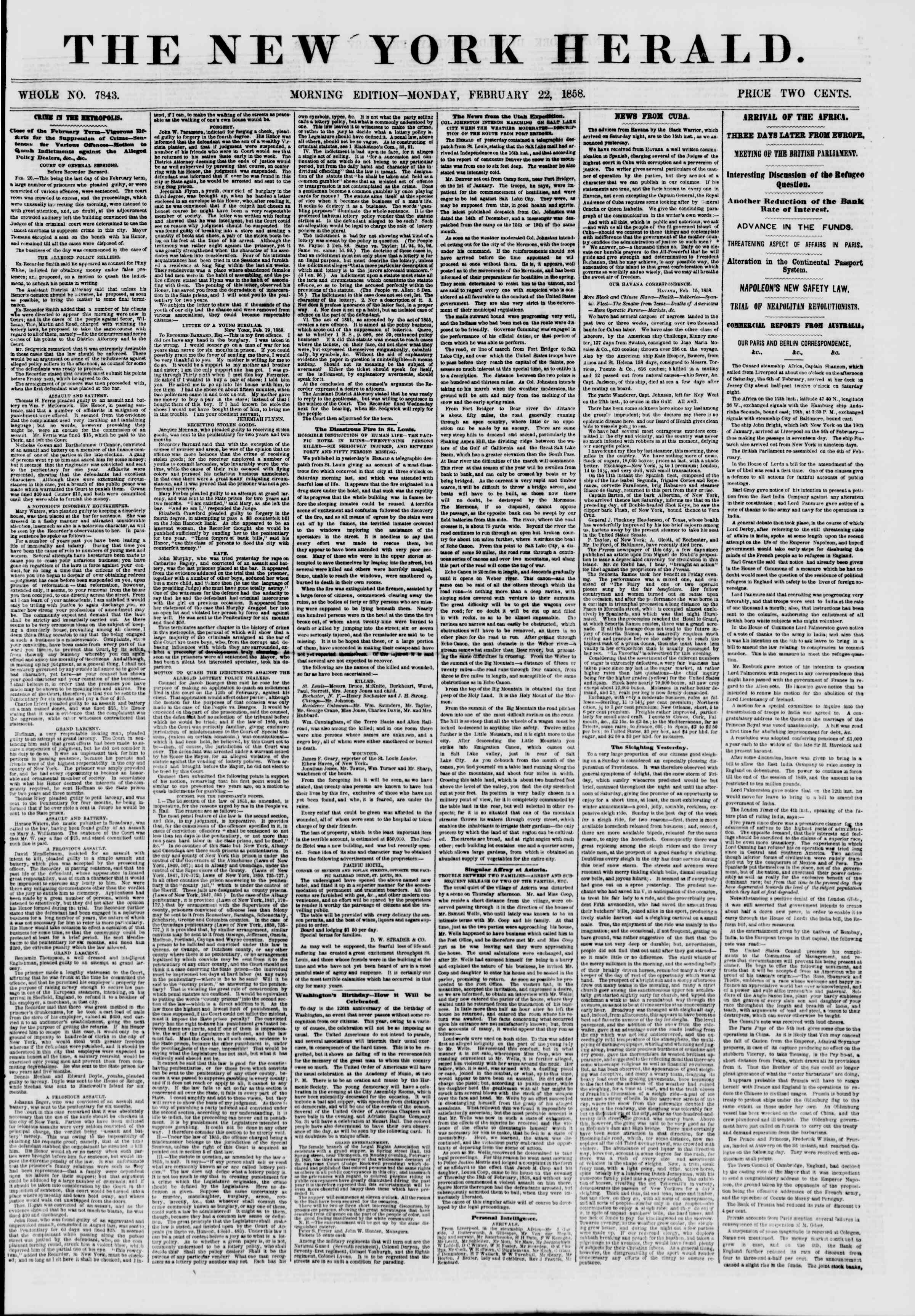 Newspaper of The New York Herald dated February 22, 1858 Page 1