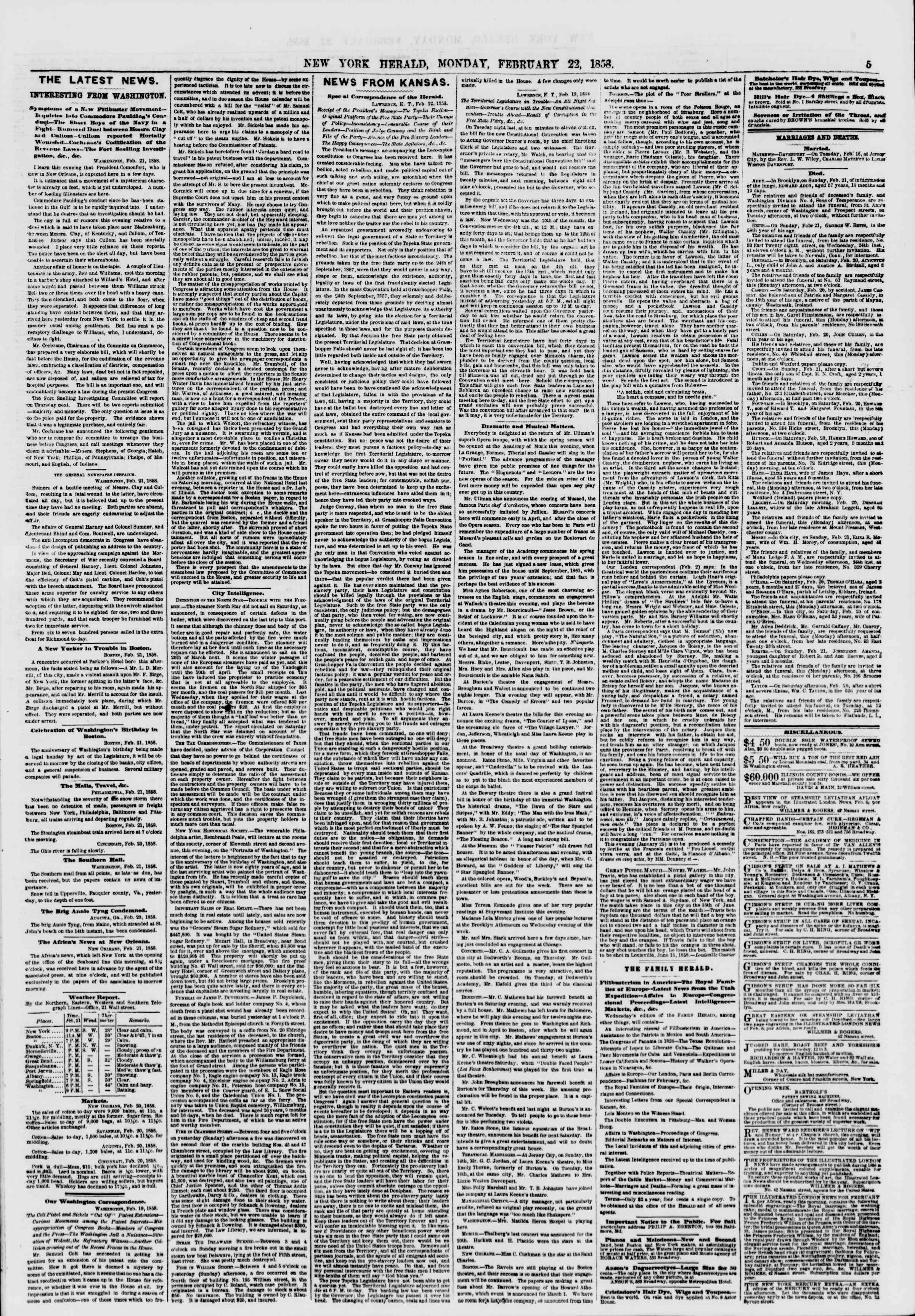 Newspaper of The New York Herald dated February 22, 1858 Page 5