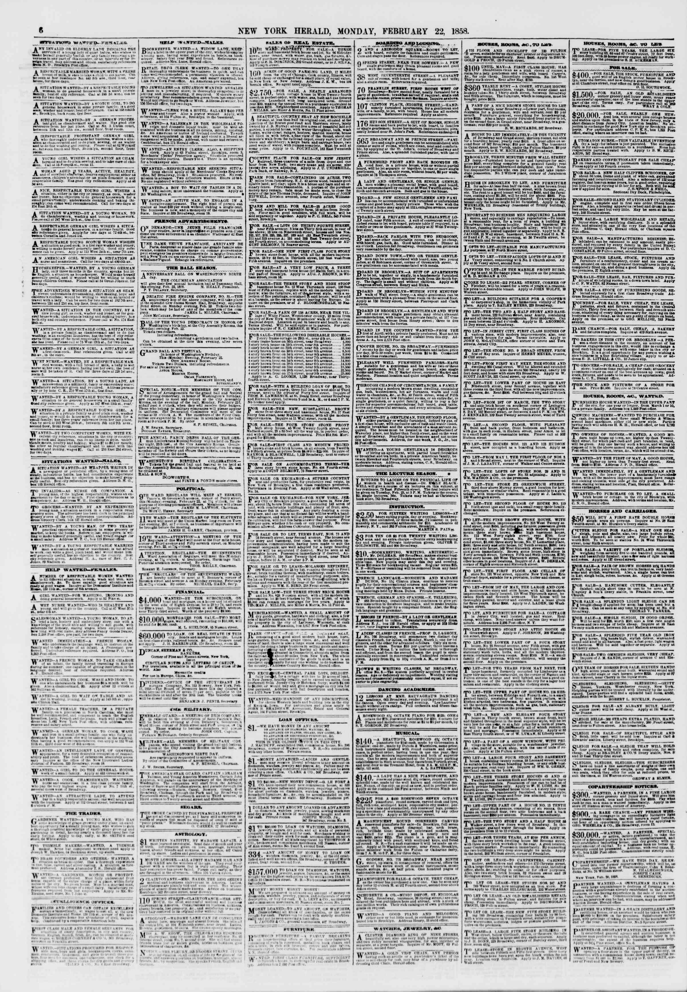 Newspaper of The New York Herald dated February 22, 1858 Page 6