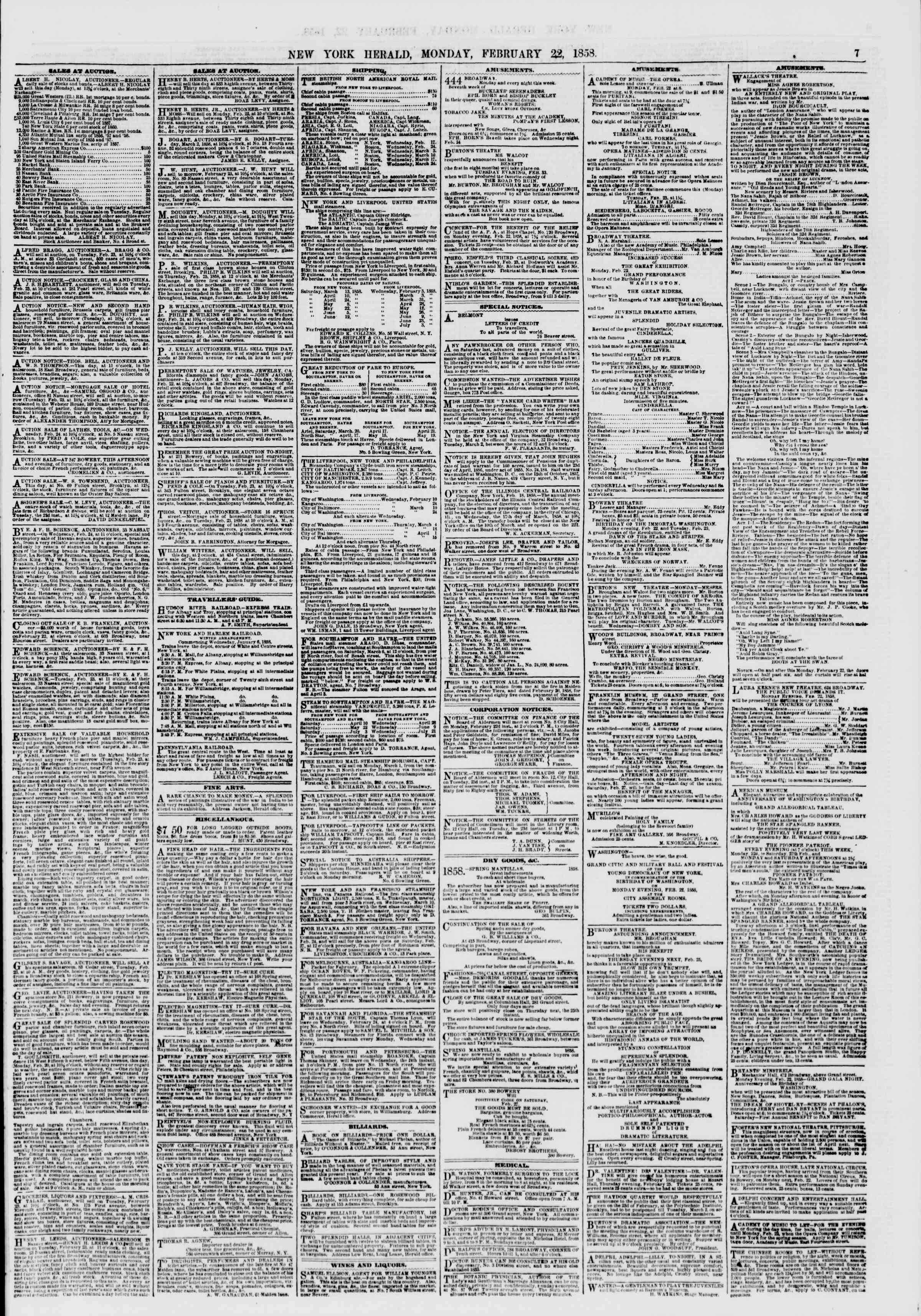 Newspaper of The New York Herald dated February 22, 1858 Page 7