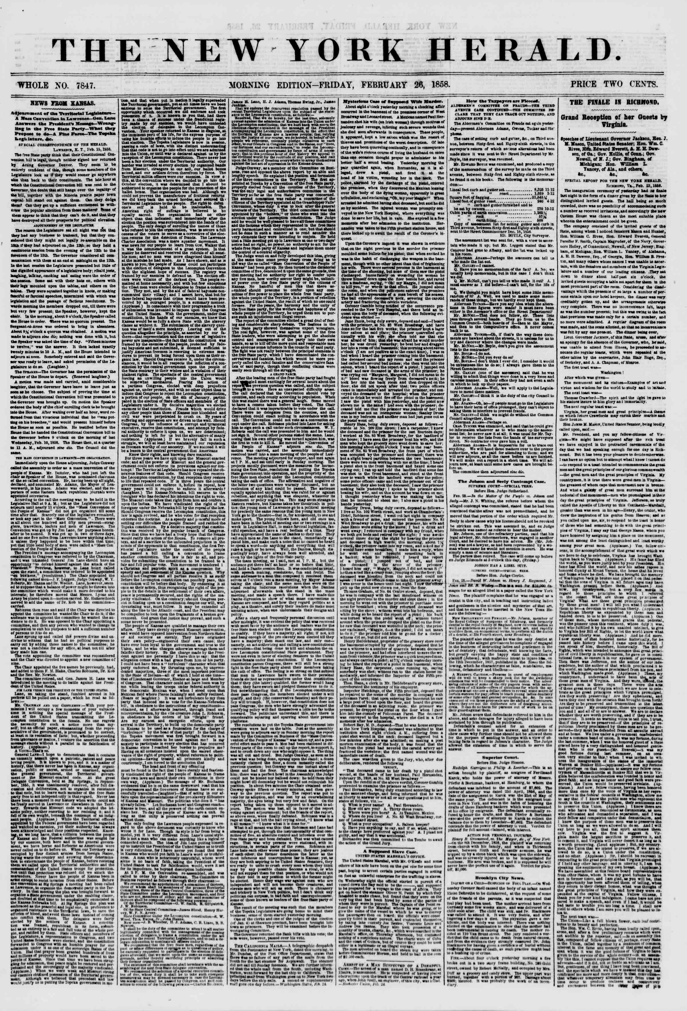 Newspaper of The New York Herald dated February 26, 1858 Page 1