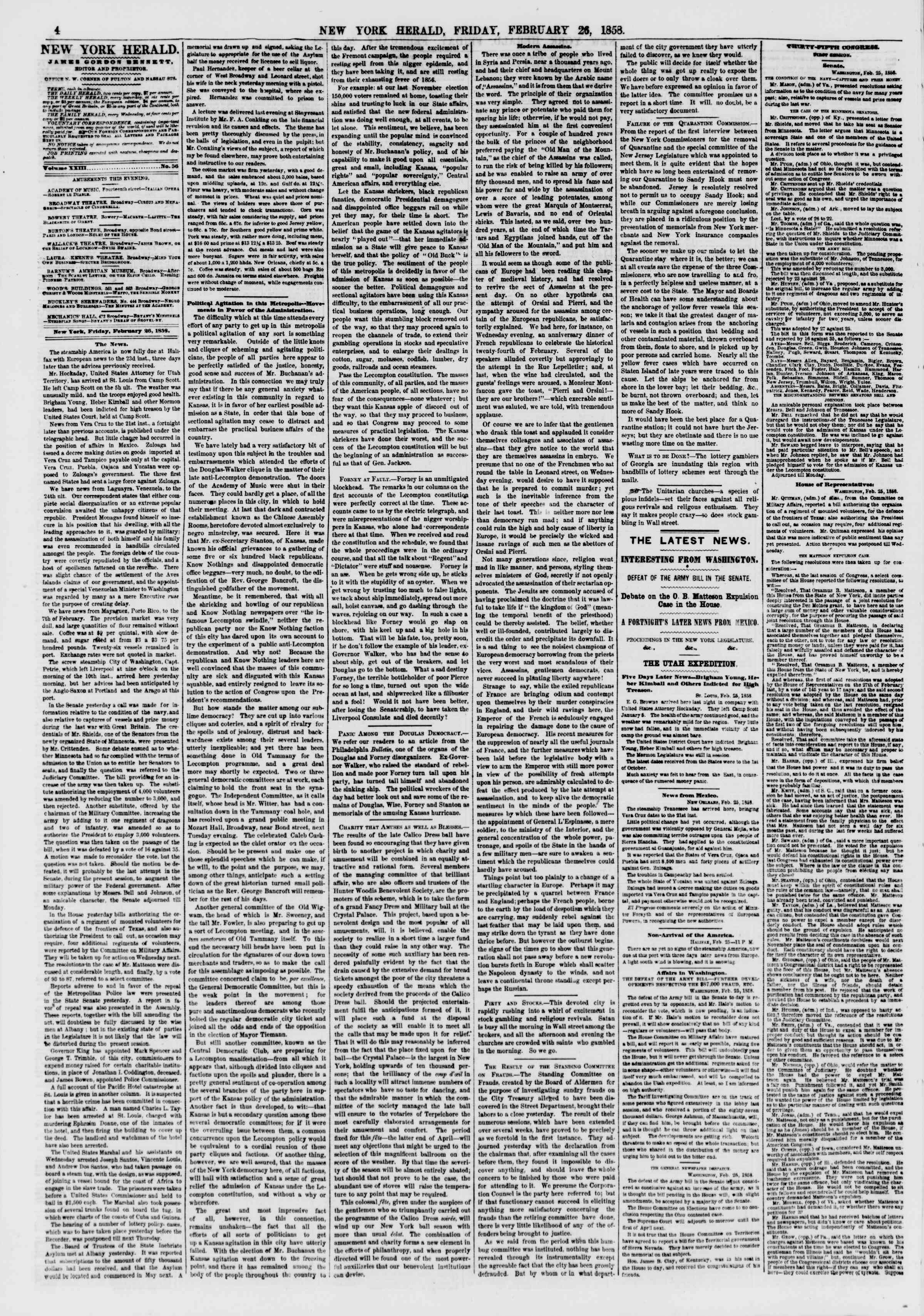 Newspaper of The New York Herald dated February 26, 1858 Page 4