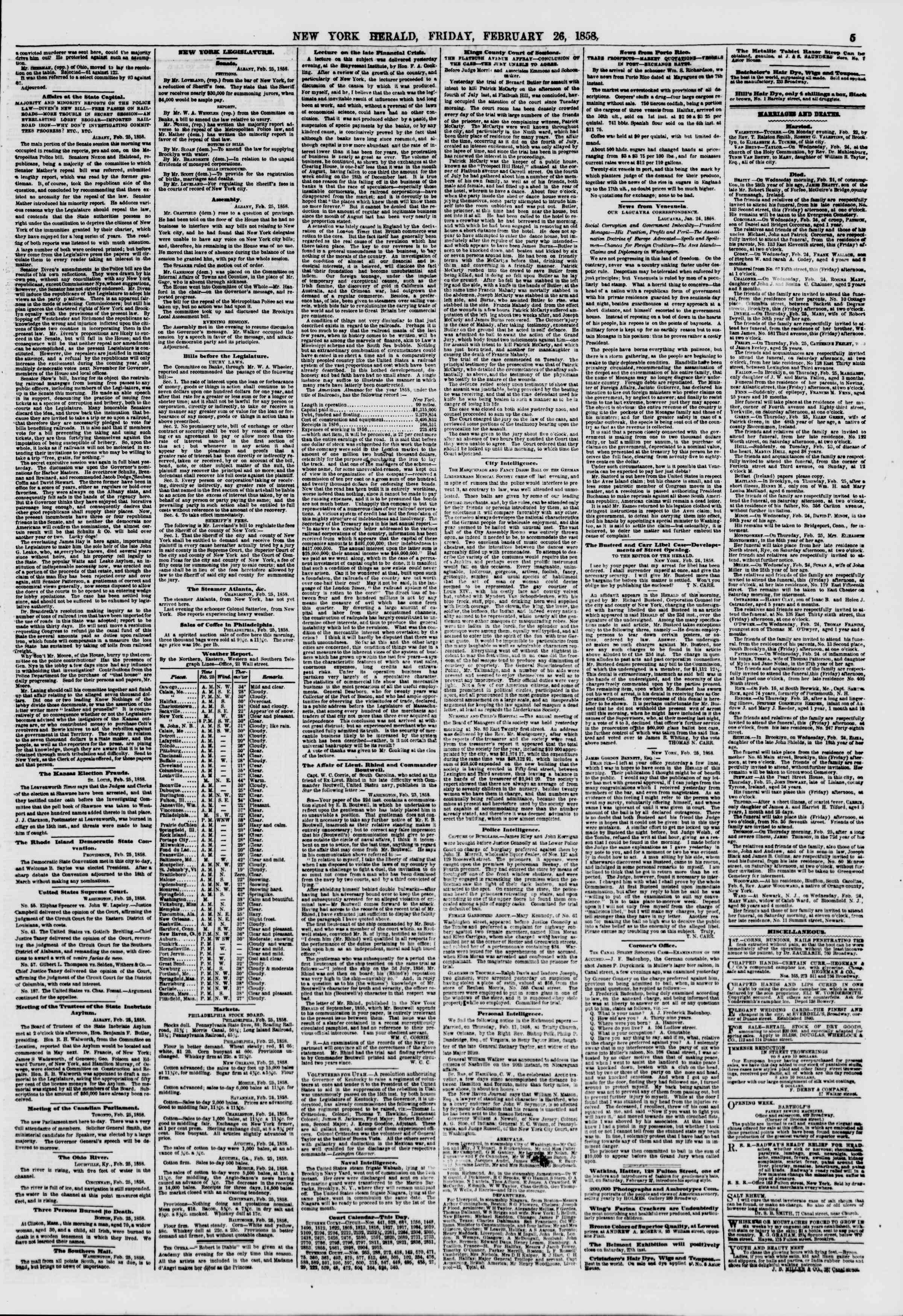 Newspaper of The New York Herald dated February 26, 1858 Page 5