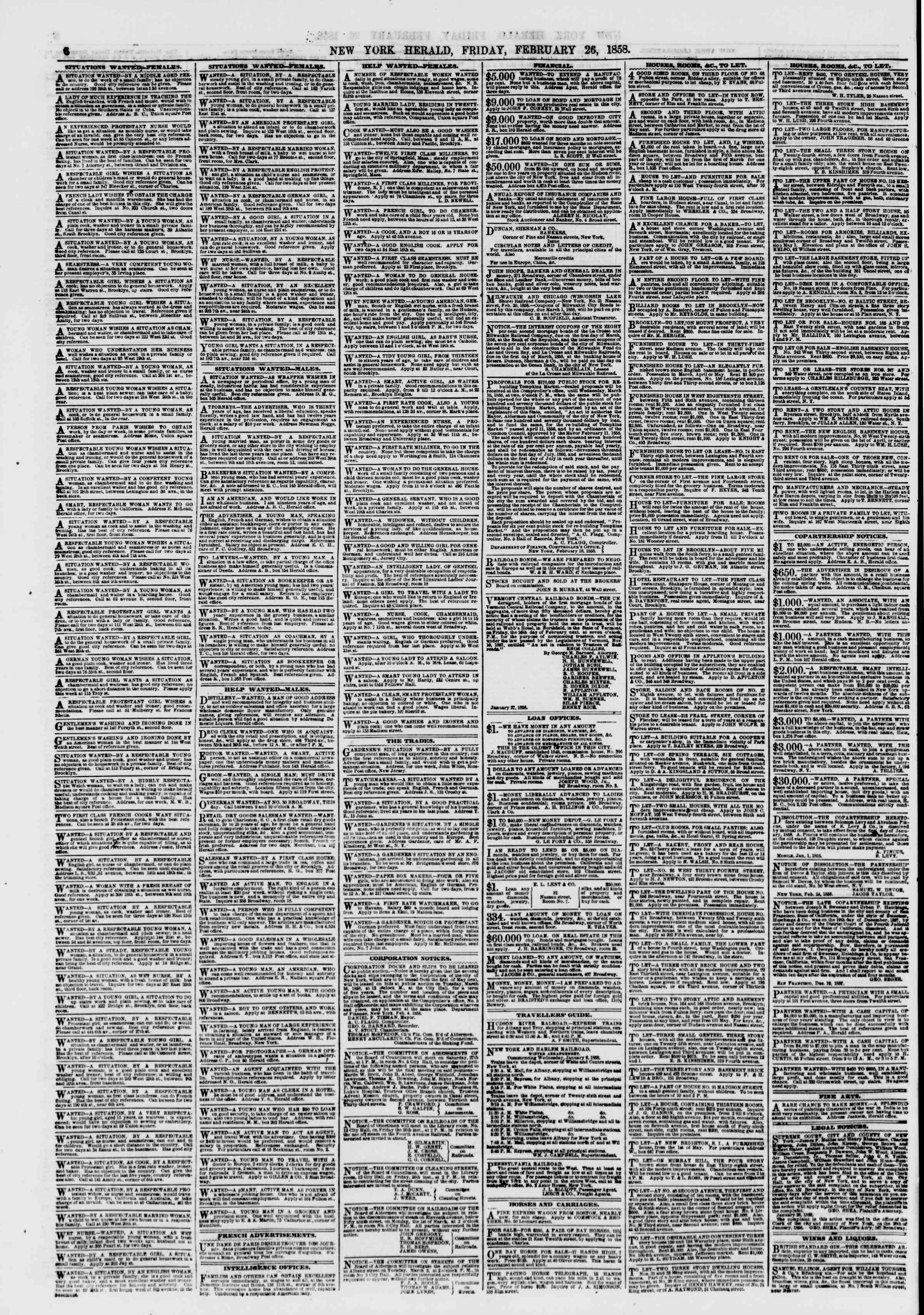 Newspaper of The New York Herald dated February 26, 1858 Page 6