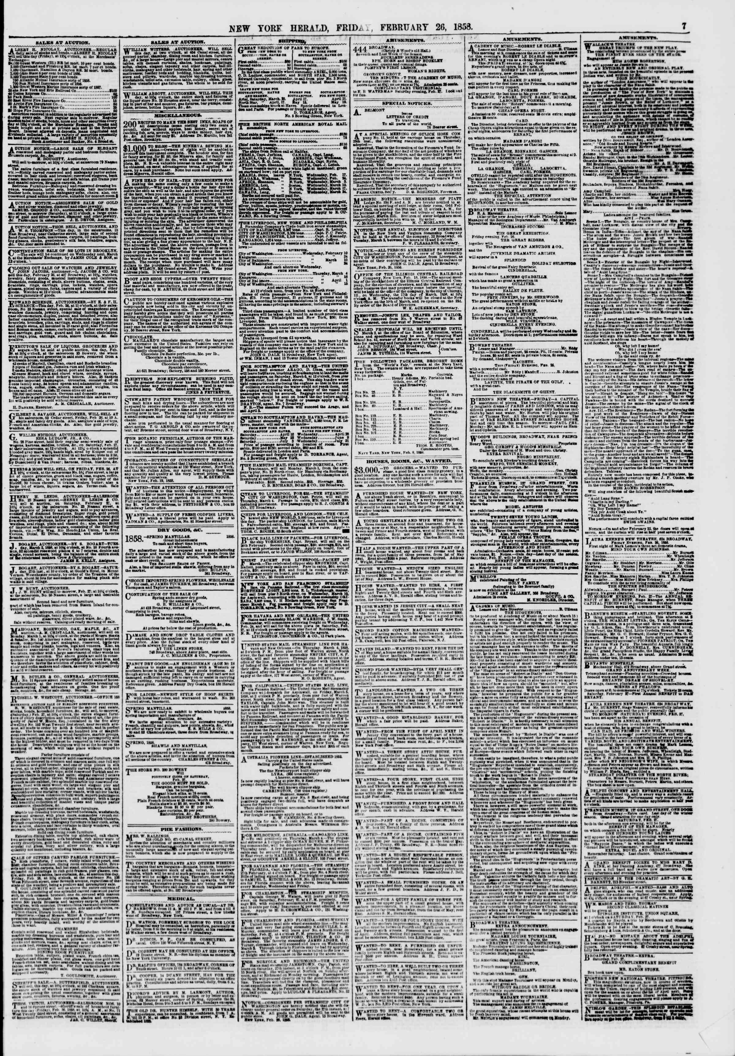 Newspaper of The New York Herald dated February 26, 1858 Page 7