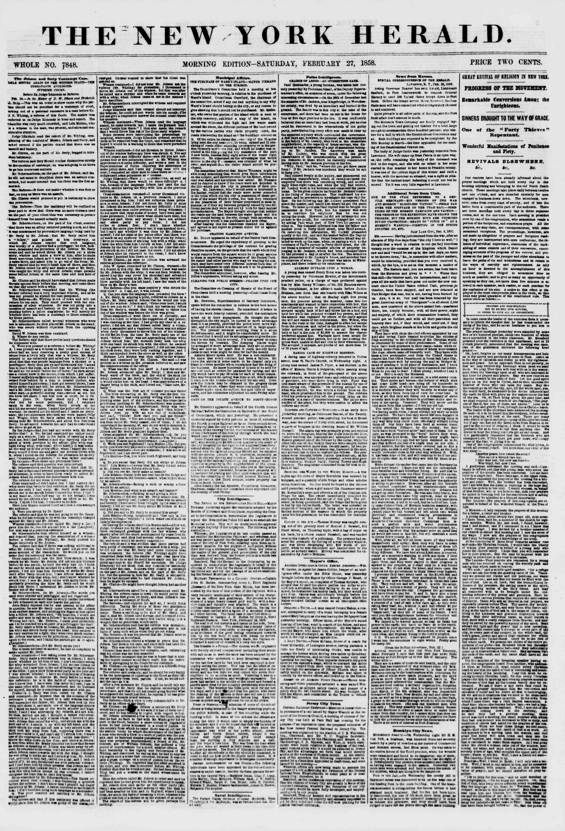 Newspaper of The New York Herald dated February 27, 1858 Page 1