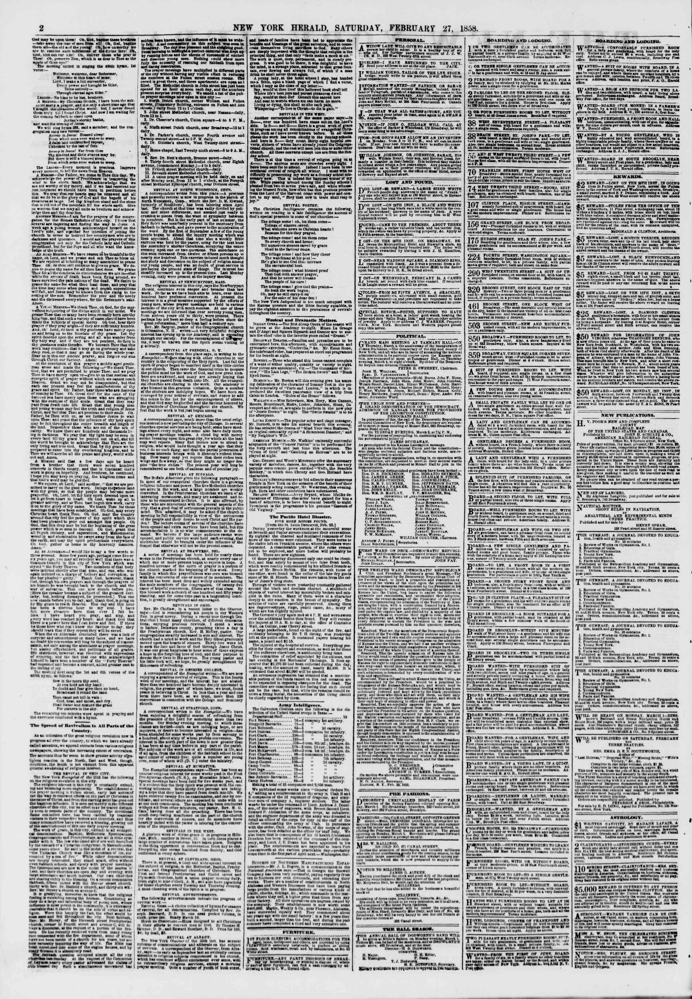Newspaper of The New York Herald dated February 27, 1858 Page 2