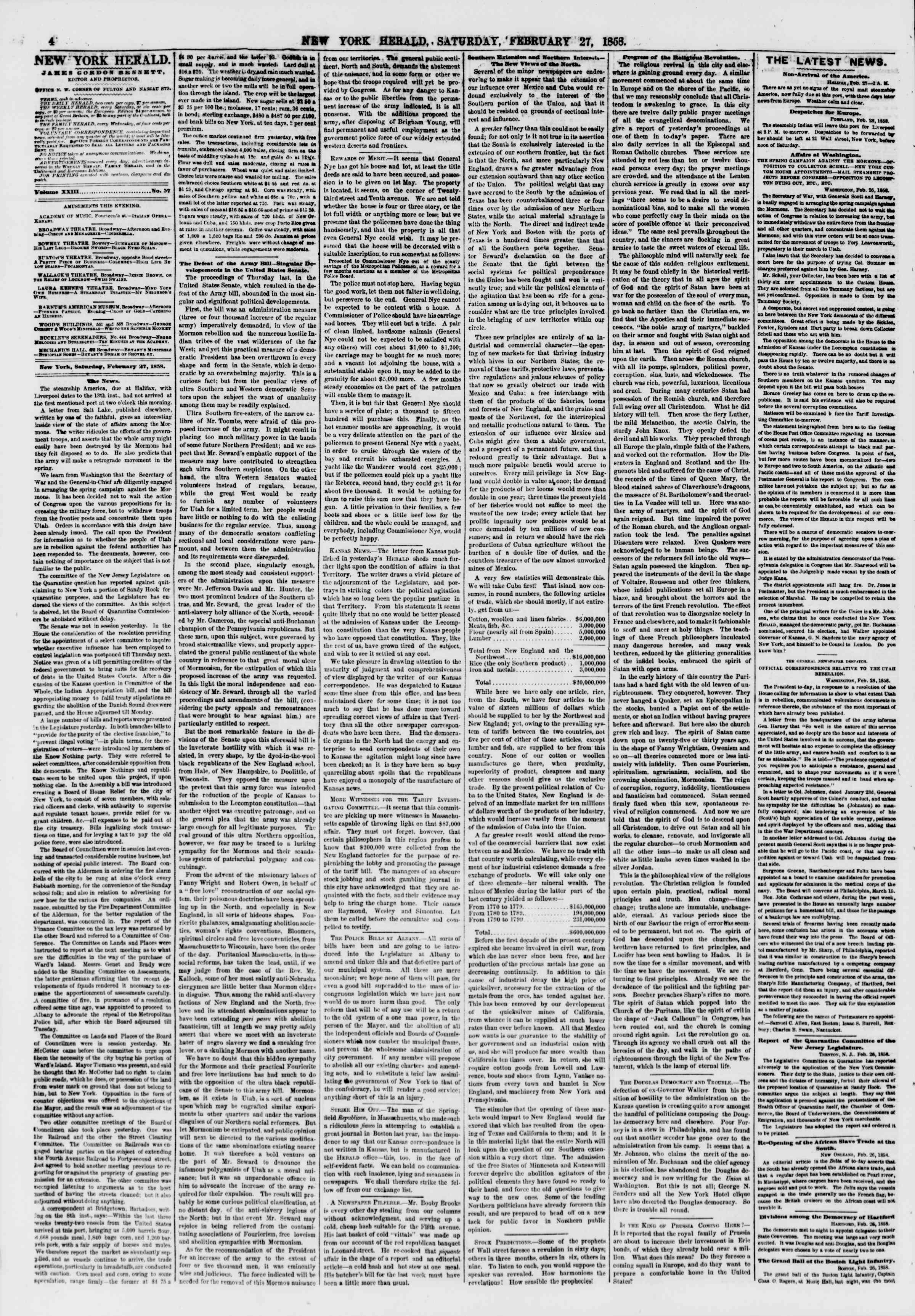 Newspaper of The New York Herald dated February 27, 1858 Page 4