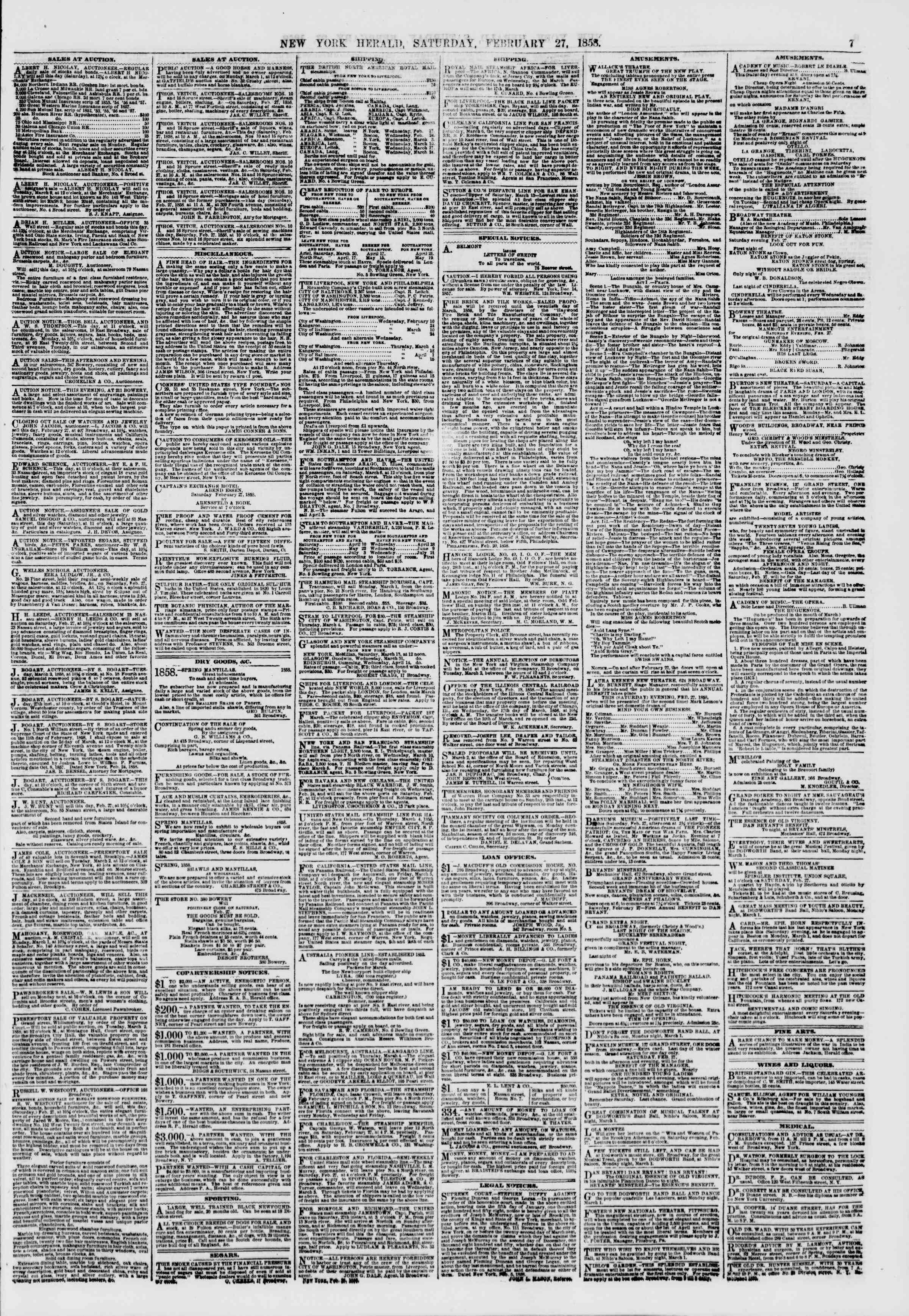 27 Şubat 1858 tarihli The New York Herald Gazetesi Sayfa 7