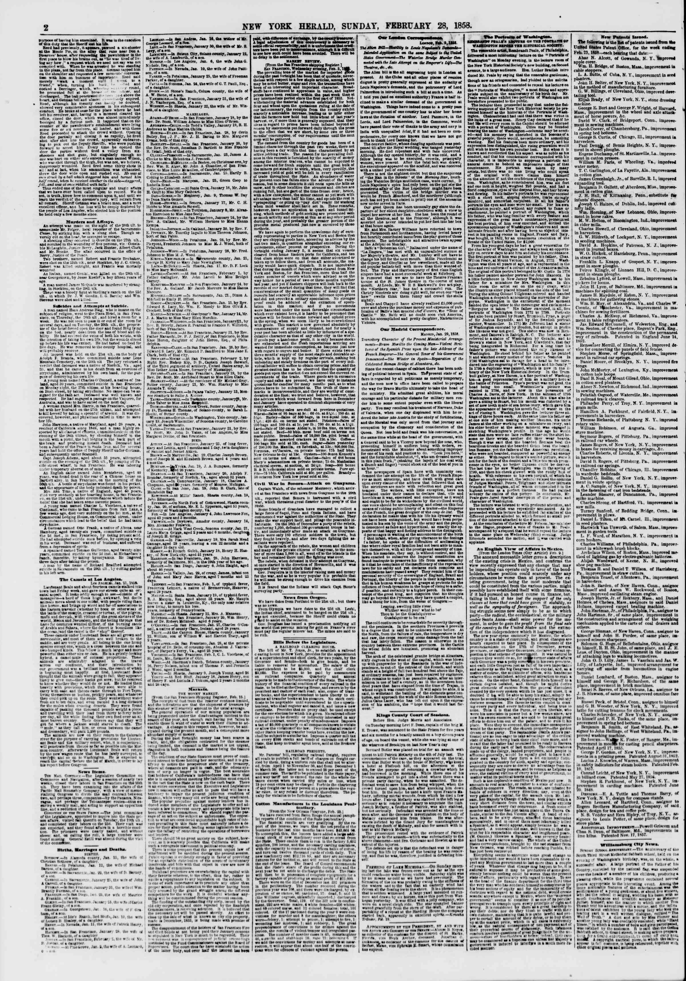 Newspaper of The New York Herald dated February 28, 1858 Page 2
