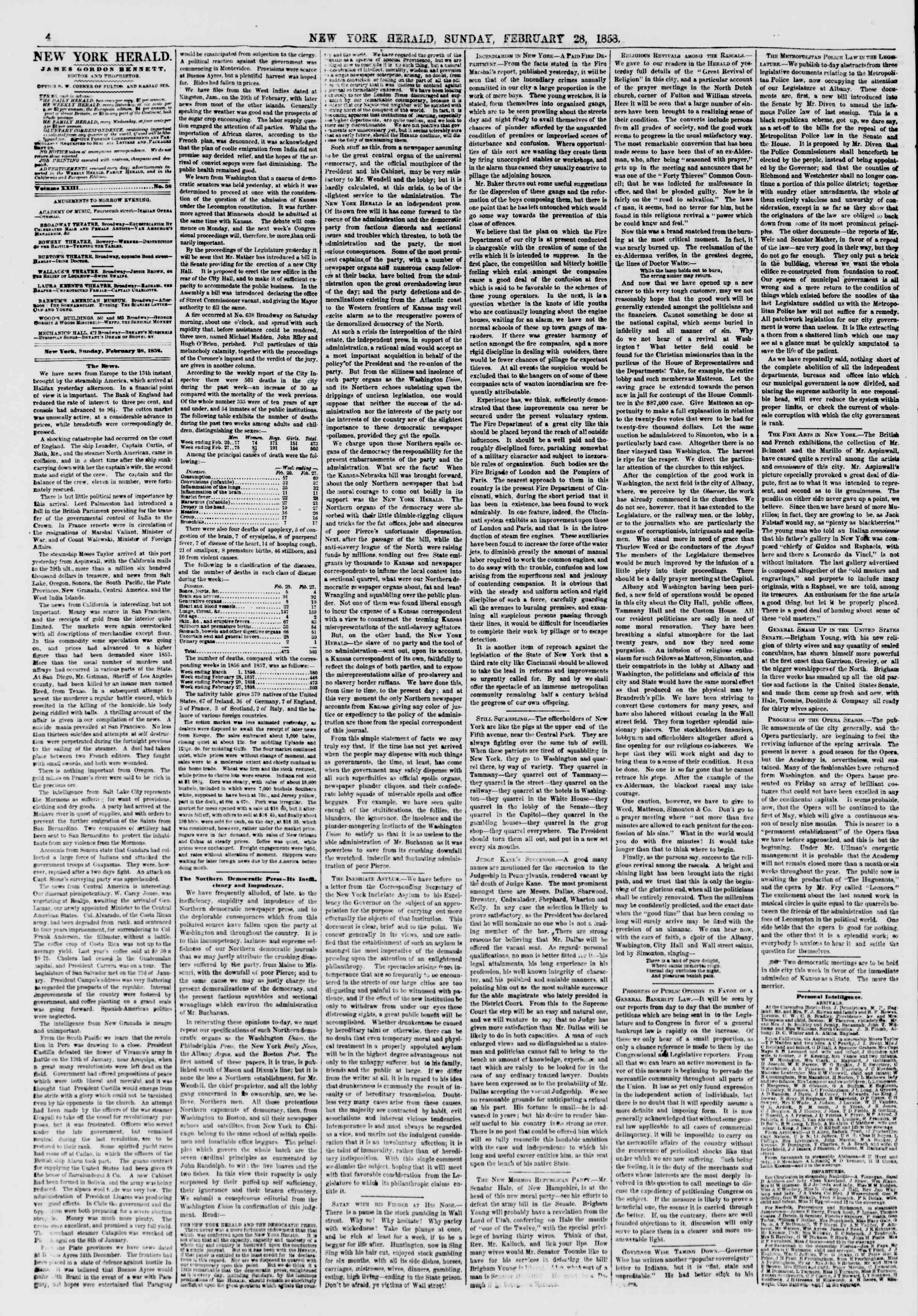 Newspaper of The New York Herald dated February 28, 1858 Page 4