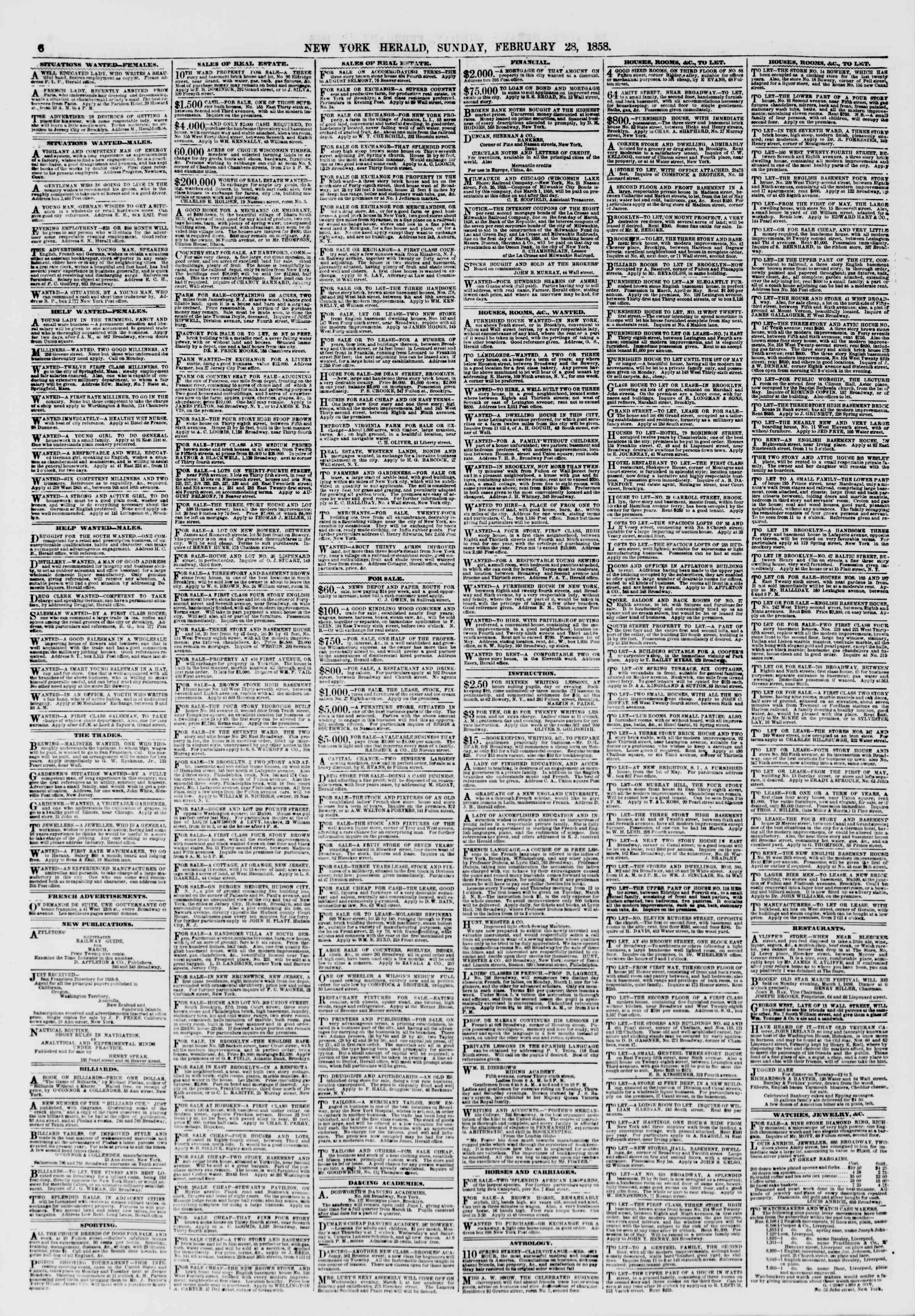 Newspaper of The New York Herald dated February 28, 1858 Page 6