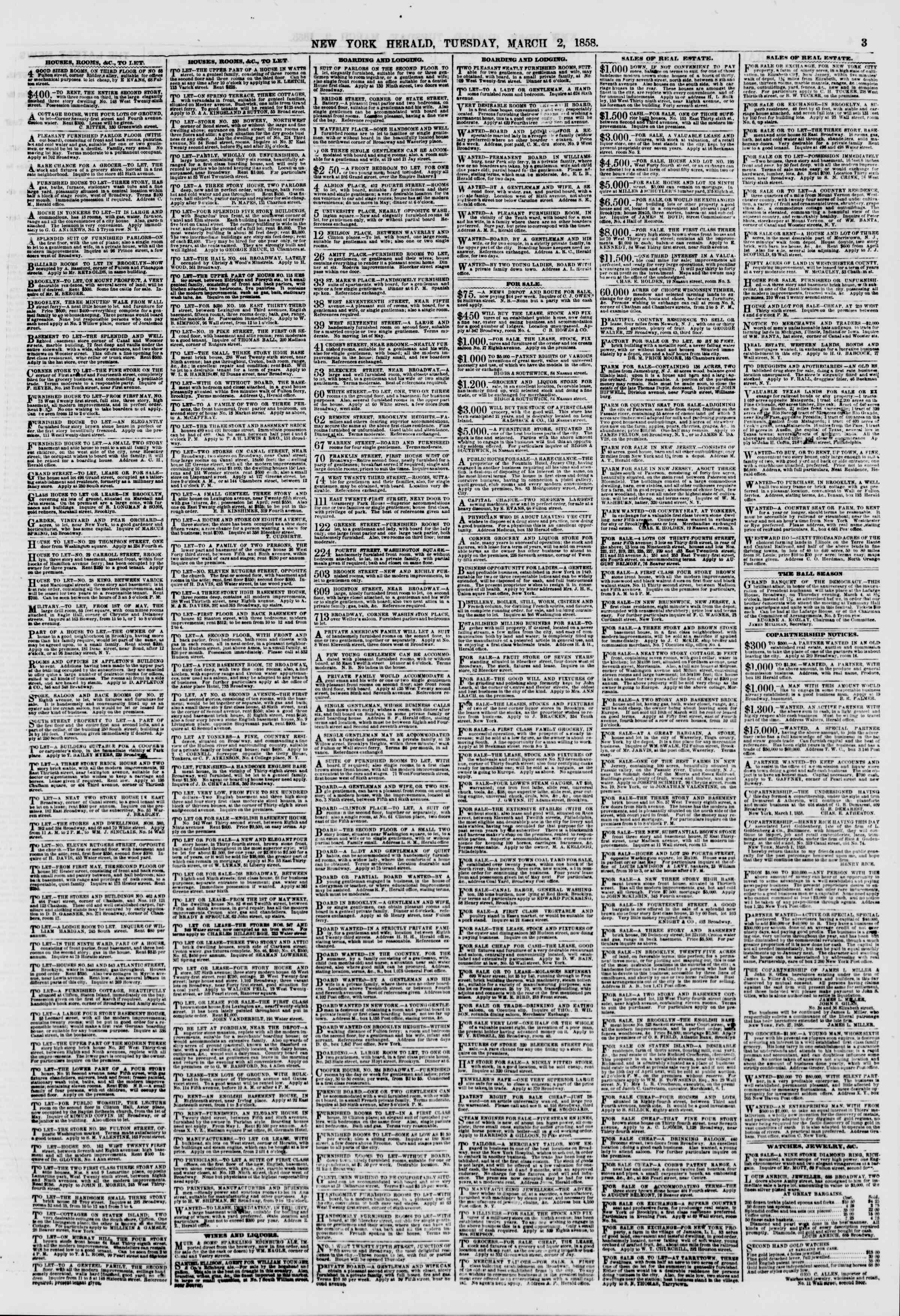 Newspaper of The New York Herald dated March 2, 1858 Page 3