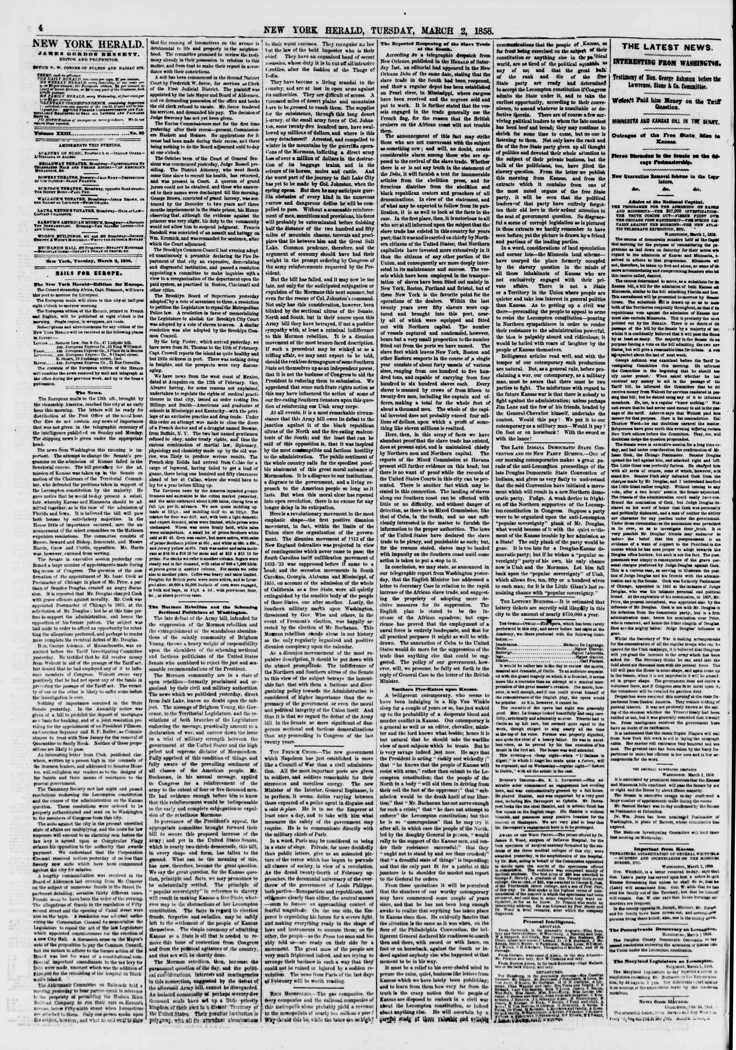 Newspaper of The New York Herald dated March 2, 1858 Page 4