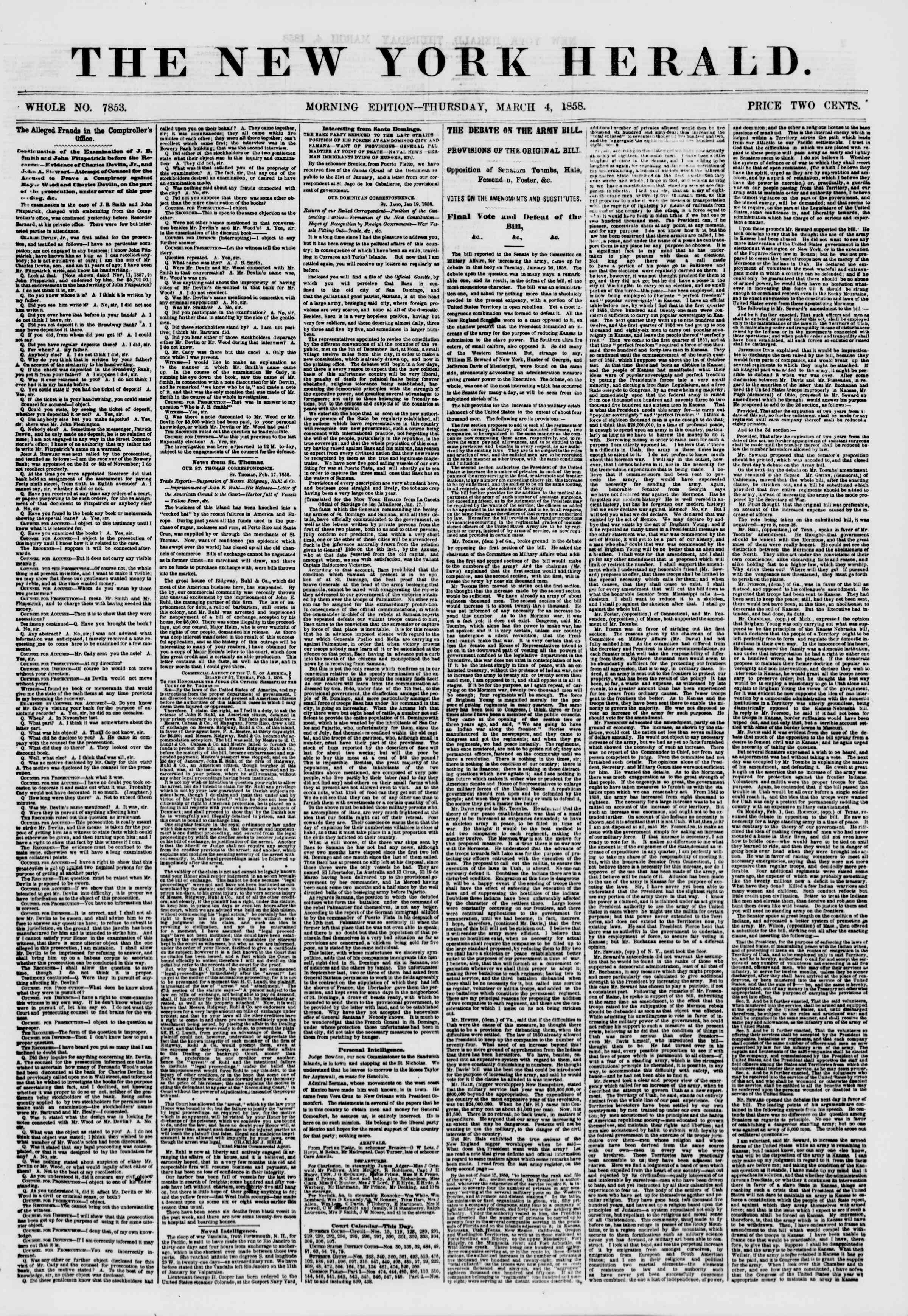 Newspaper of The New York Herald dated March 4, 1858 Page 1
