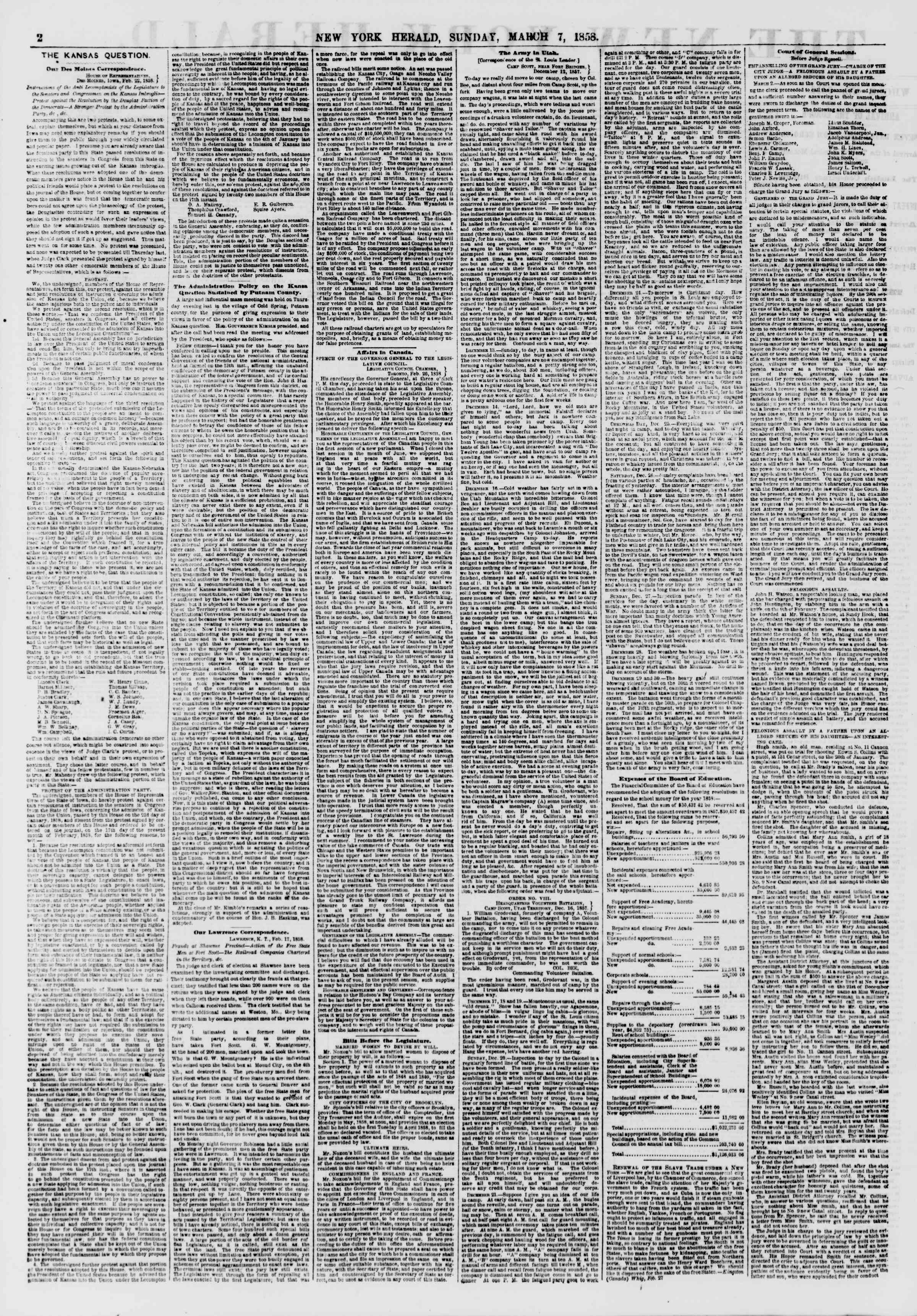 Newspaper of The New York Herald dated March 7, 1858 Page 2