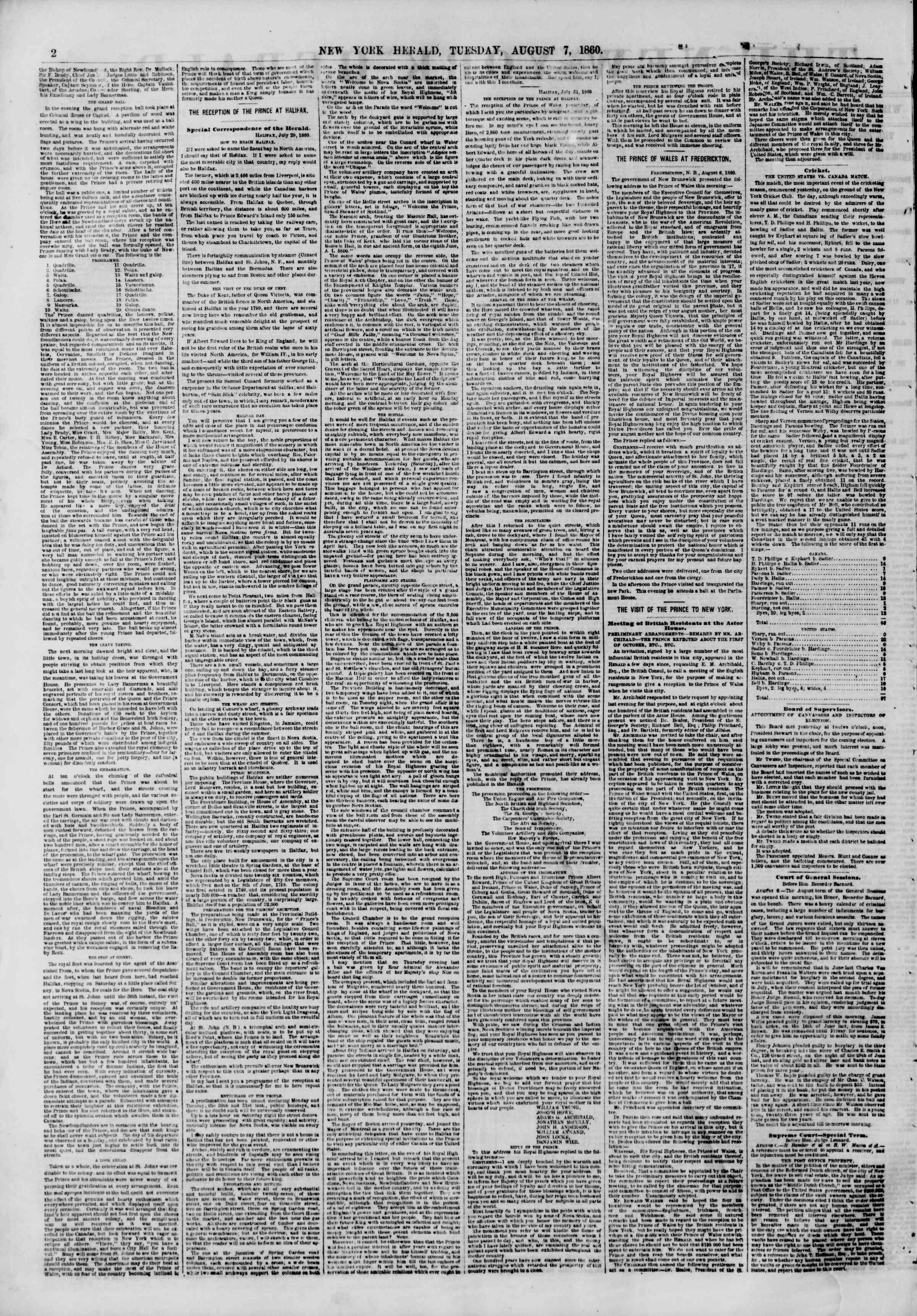 Newspaper of The New York Herald dated August 7, 1860 Page 2