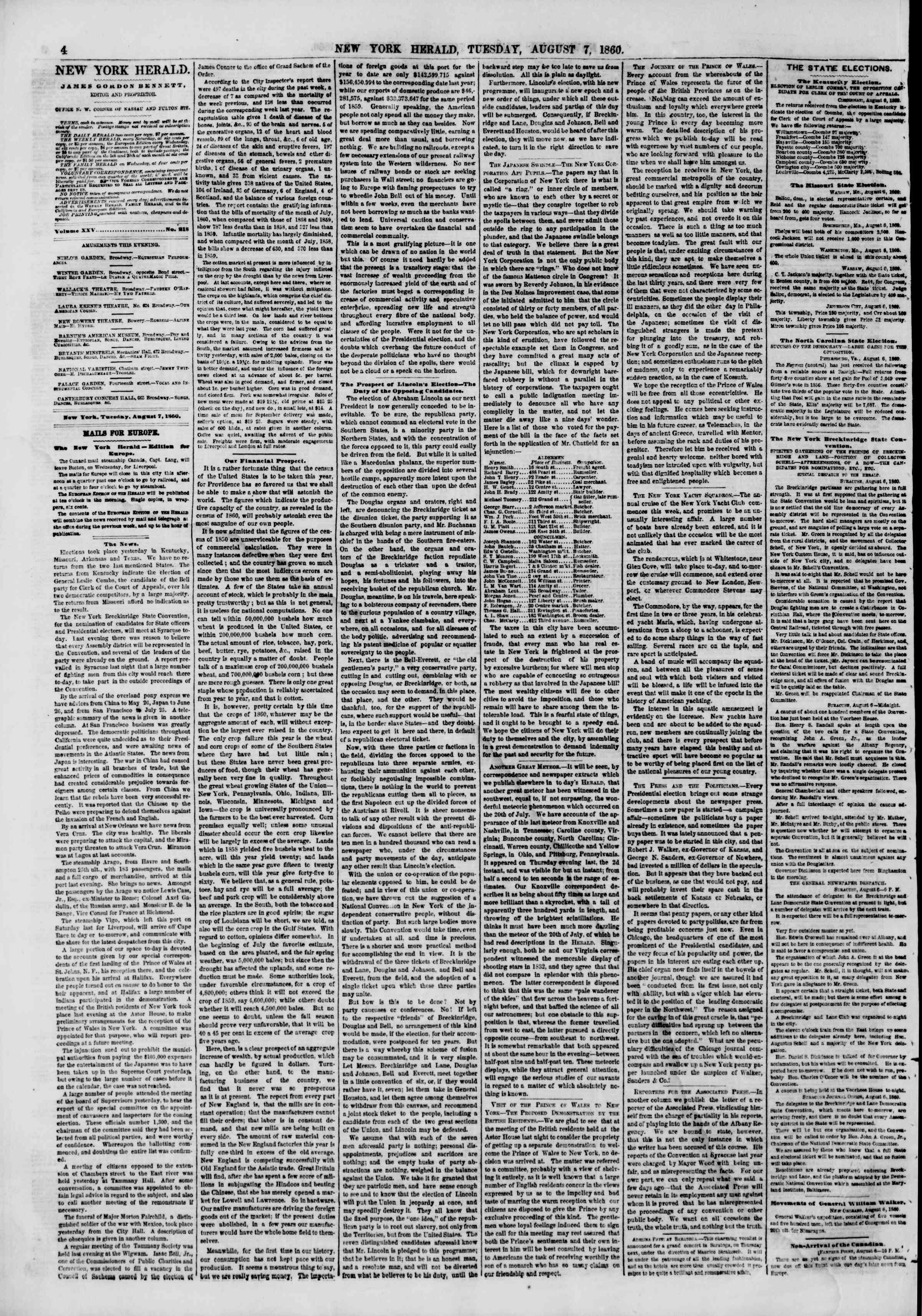 Newspaper of The New York Herald dated August 7, 1860 Page 4