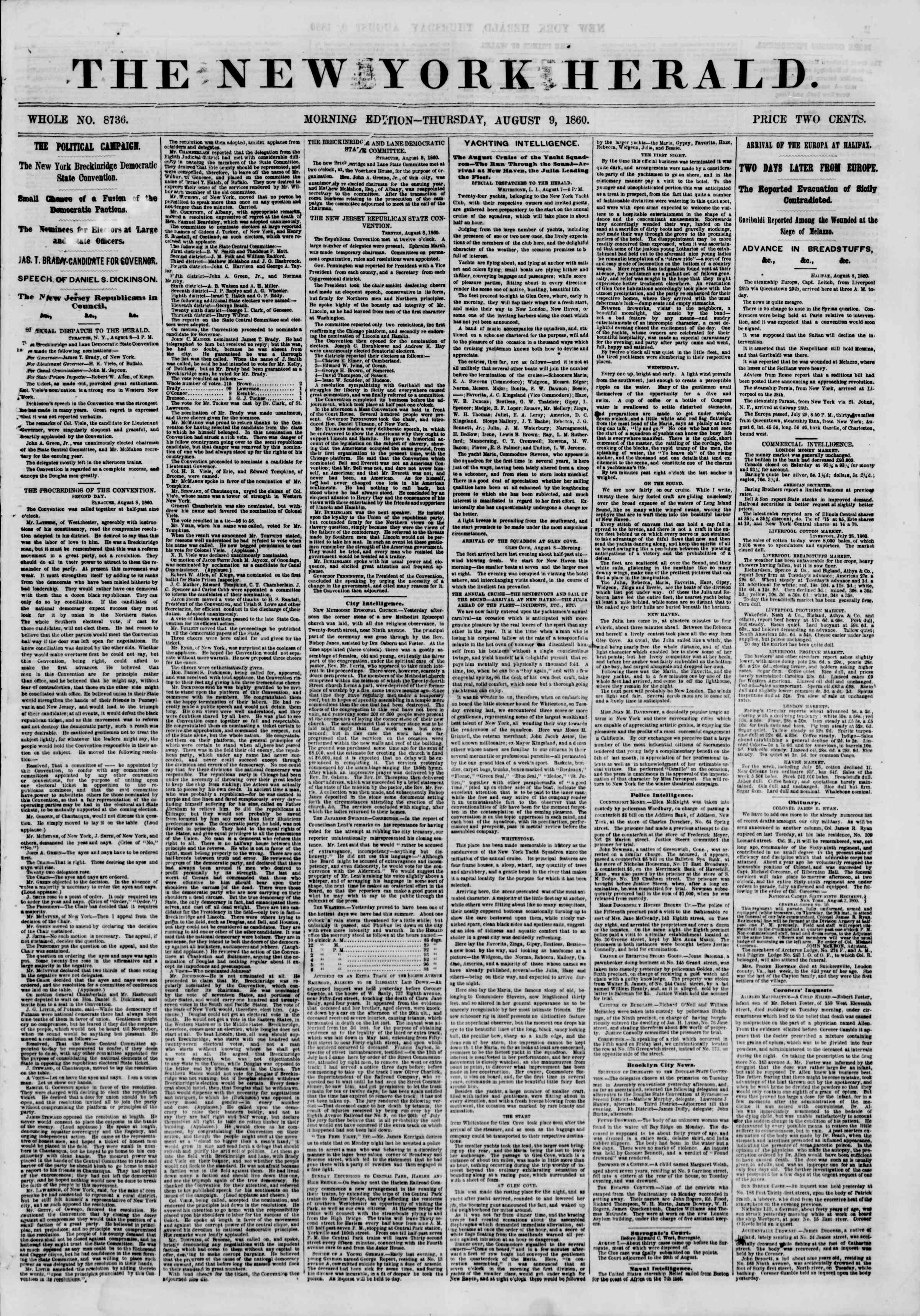 Newspaper of The New York Herald dated August 9, 1860 Page 1