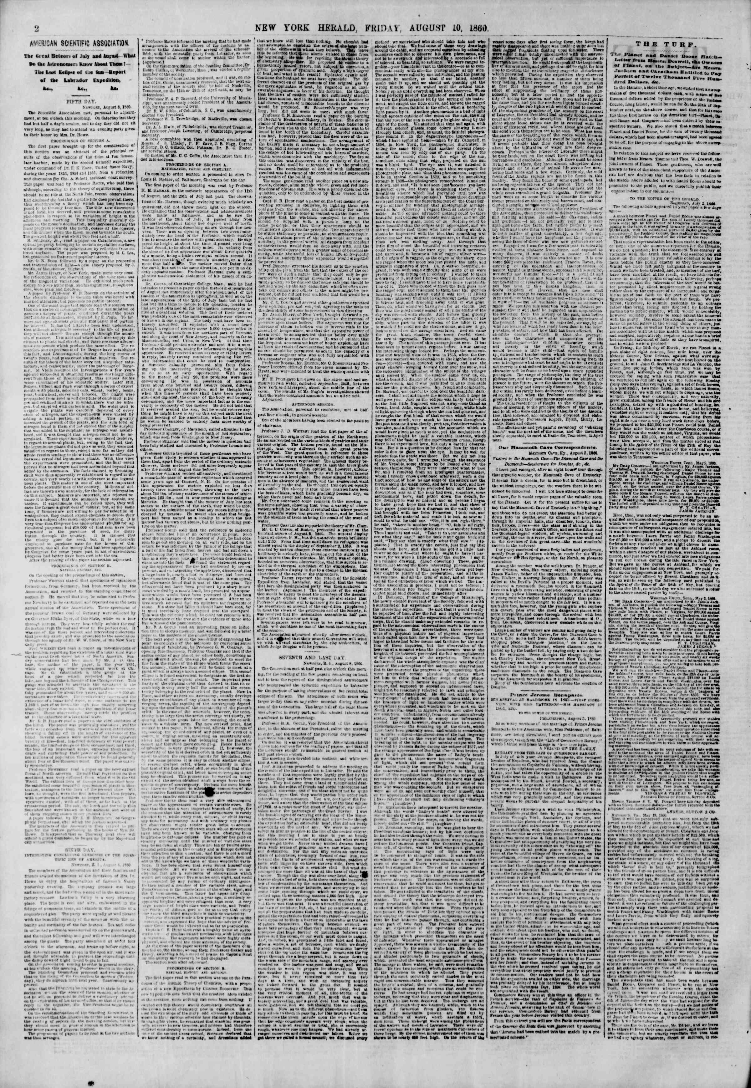 Newspaper of The New York Herald dated August 10, 1860 Page 2