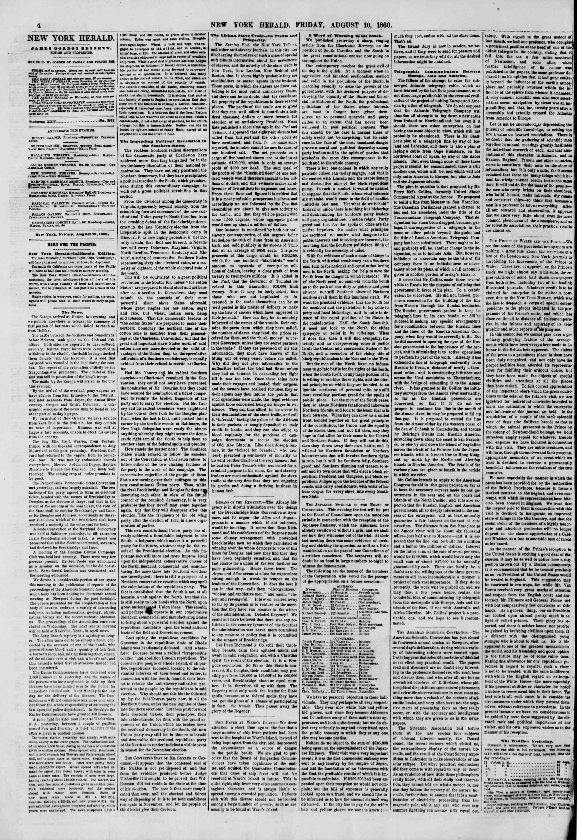 Newspaper of The New York Herald dated August 10, 1860 Page 4