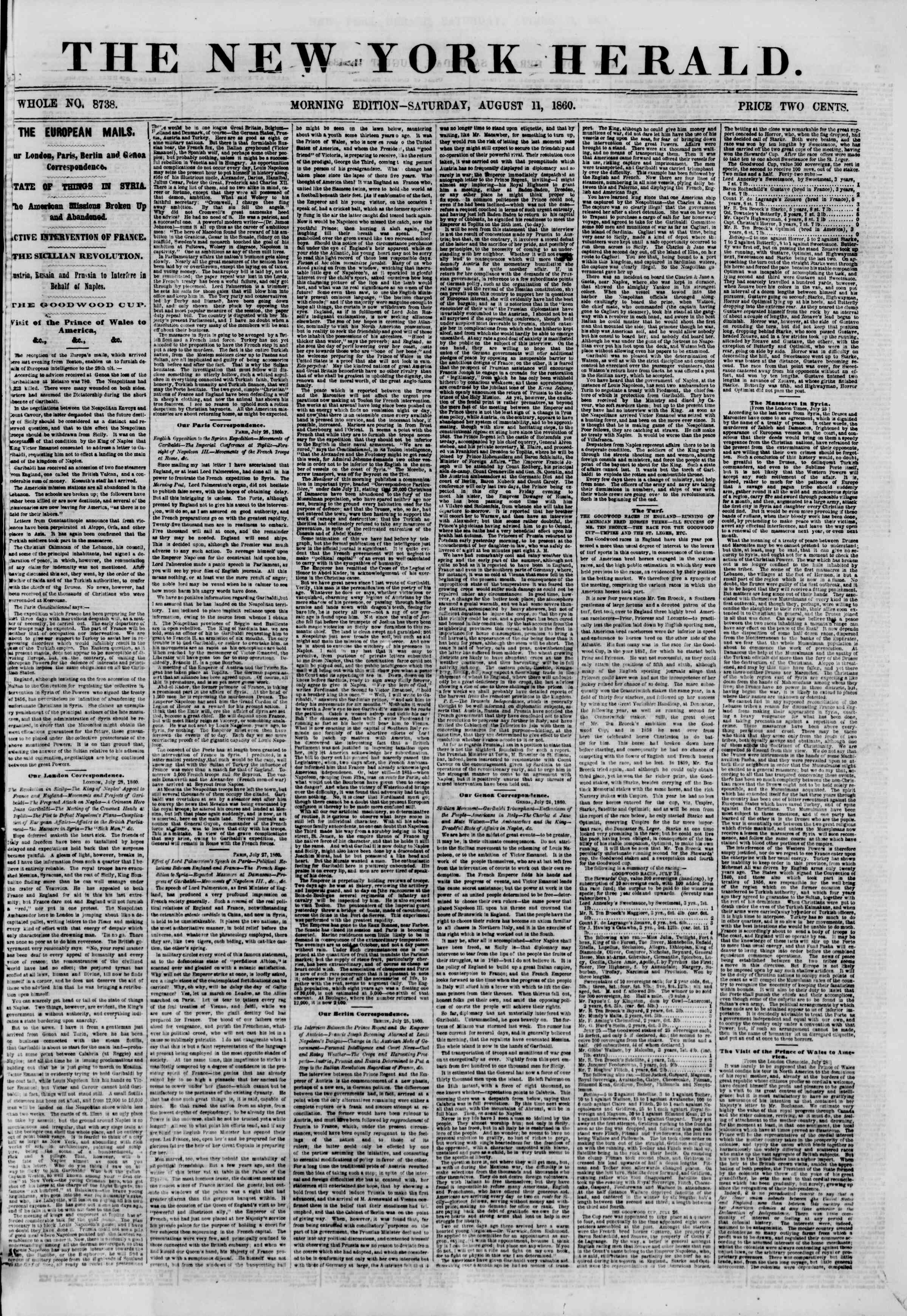 Newspaper of The New York Herald dated August 11, 1860 Page 1