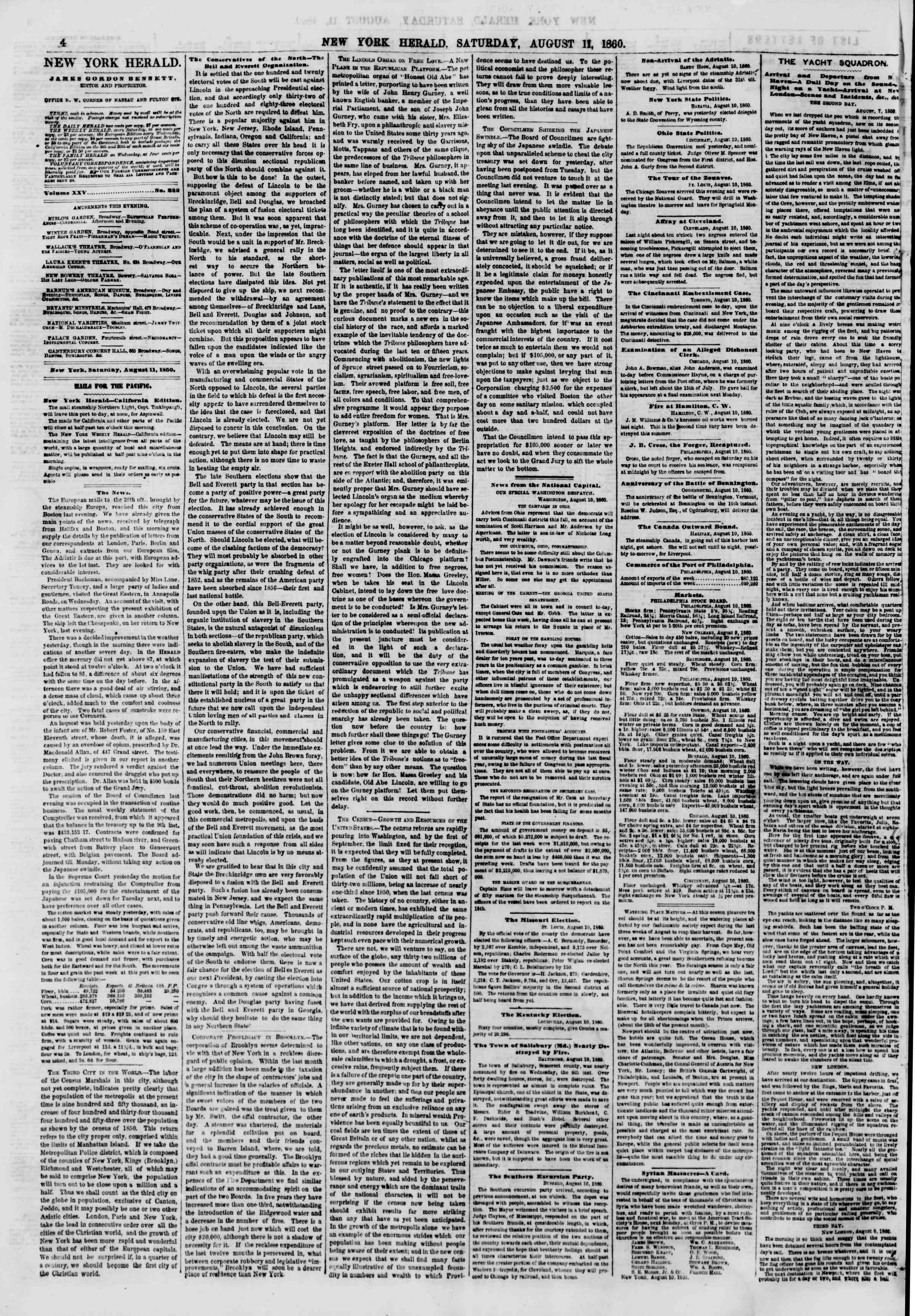 Newspaper of The New York Herald dated August 11, 1860 Page 4